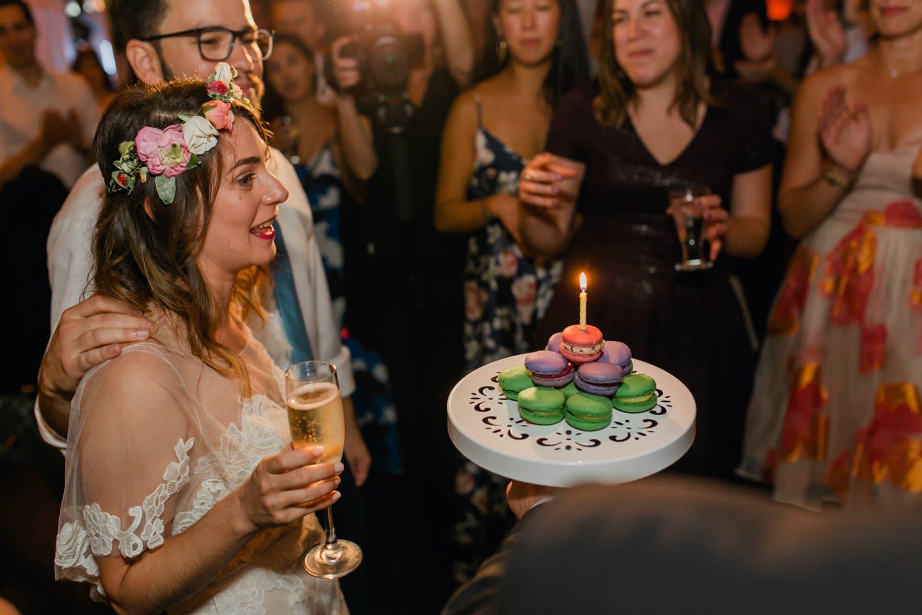 Bryant Park Grill wedding reception bride's birthday macaroon cake