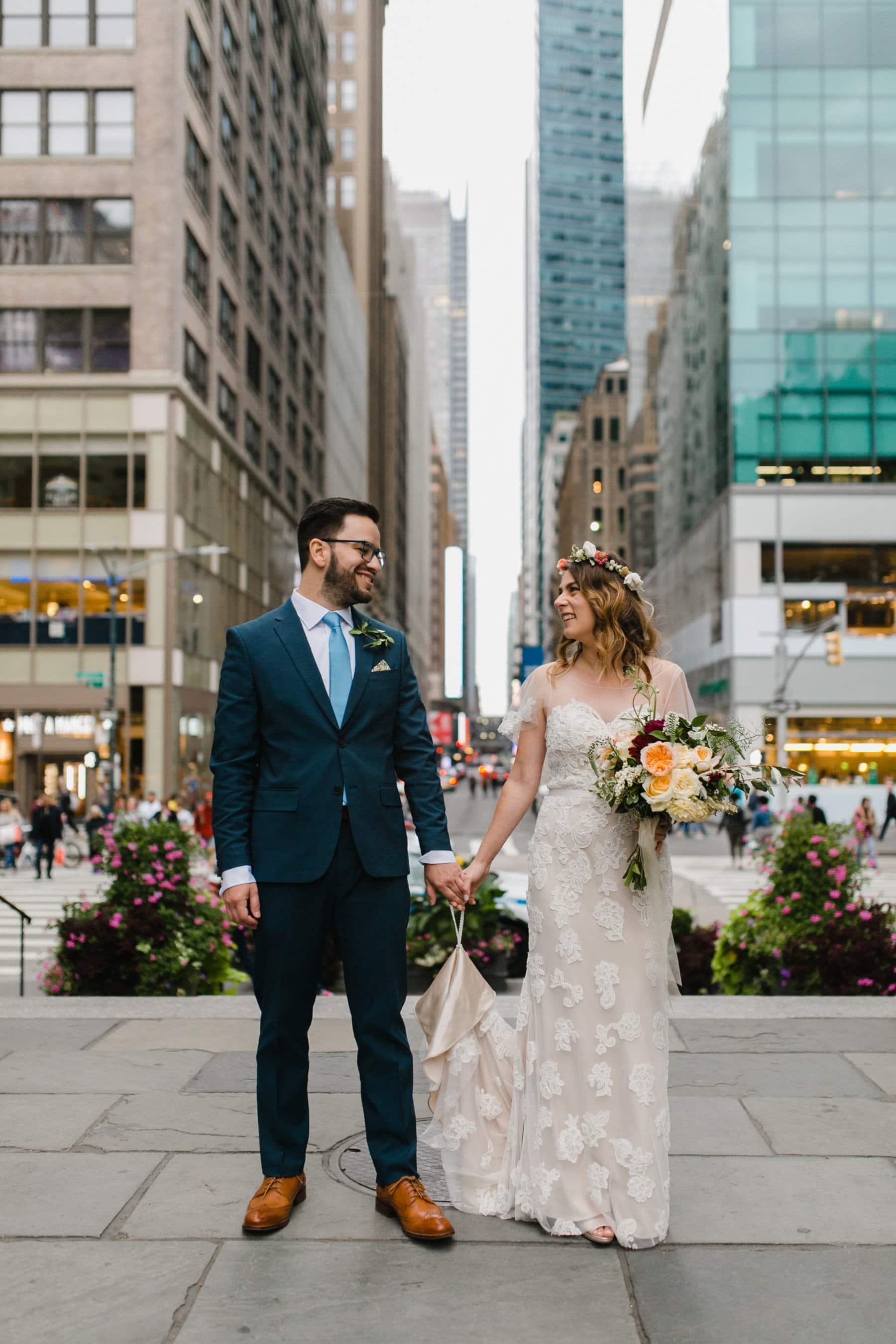 New York City Manhattan wedding boho bride & groom