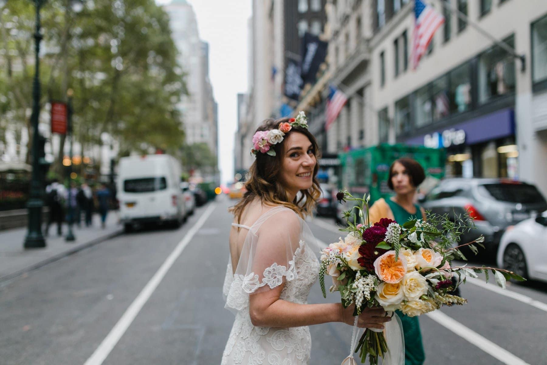Manhattan boho bride crossing street