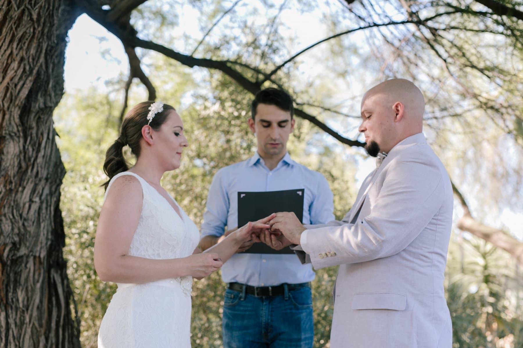 exchanging rings at Desert Botanical Gardens
