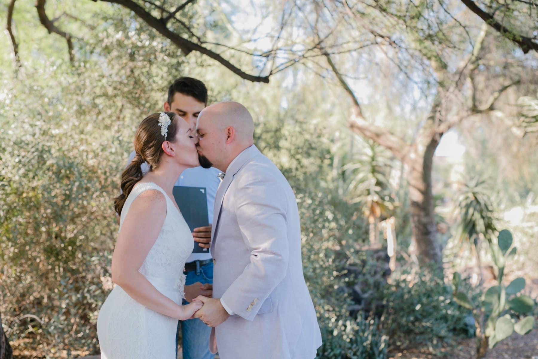 first kiss Desert Botanical Gardens elopement