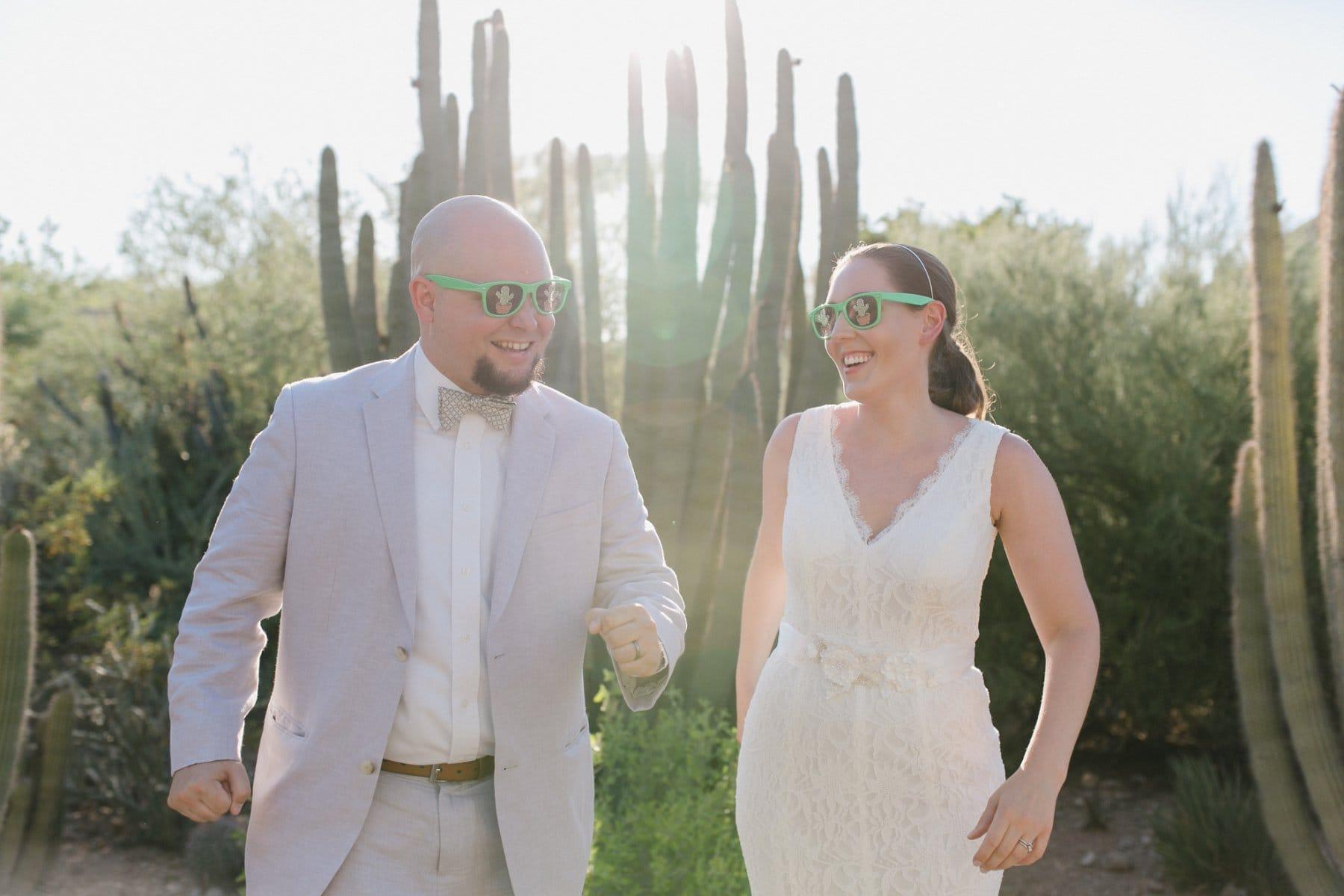 goofy fun Desert Botanical Gardens elopement