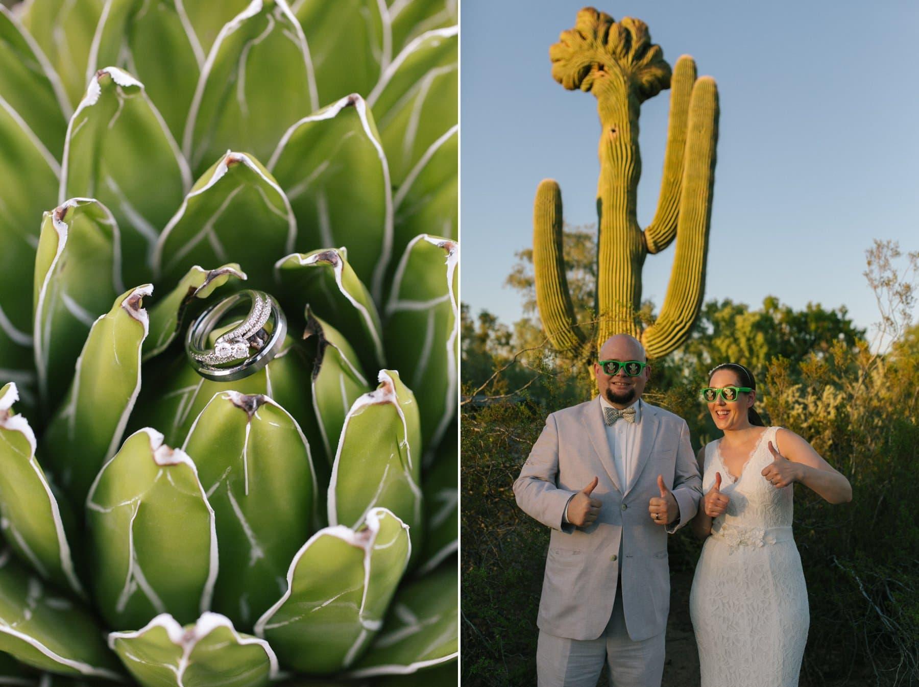fun wedding photos at Desert Botanical Garden