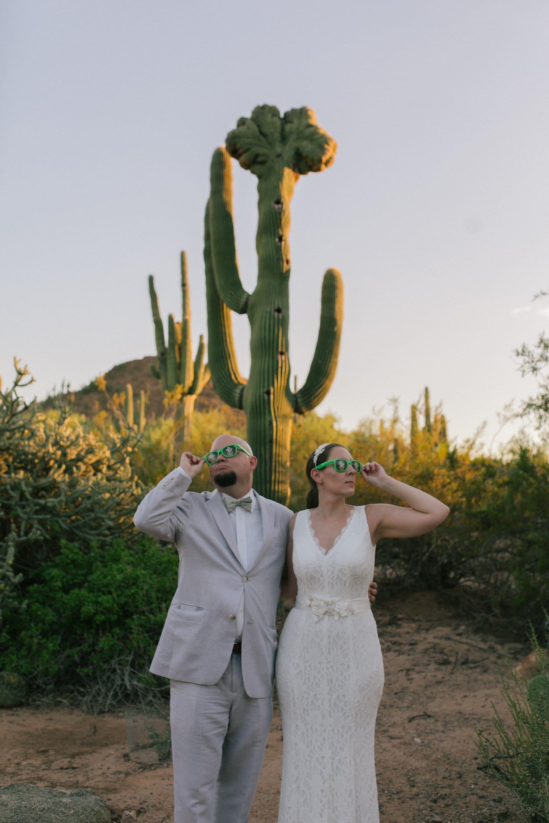 fun cool wedding photos at Desert Botanical Gardens