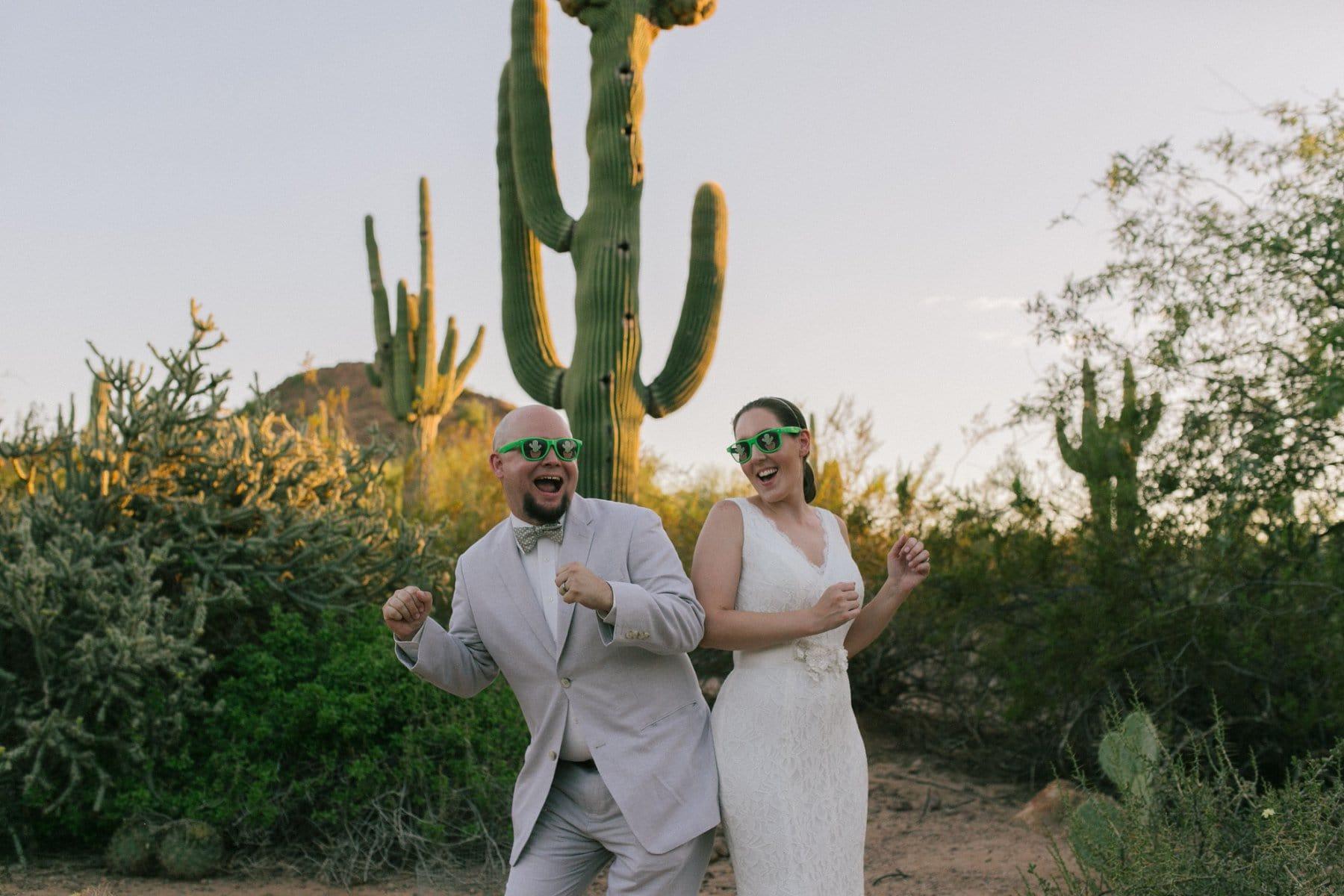 funny cool Desert Botanical Gardens wedding photos