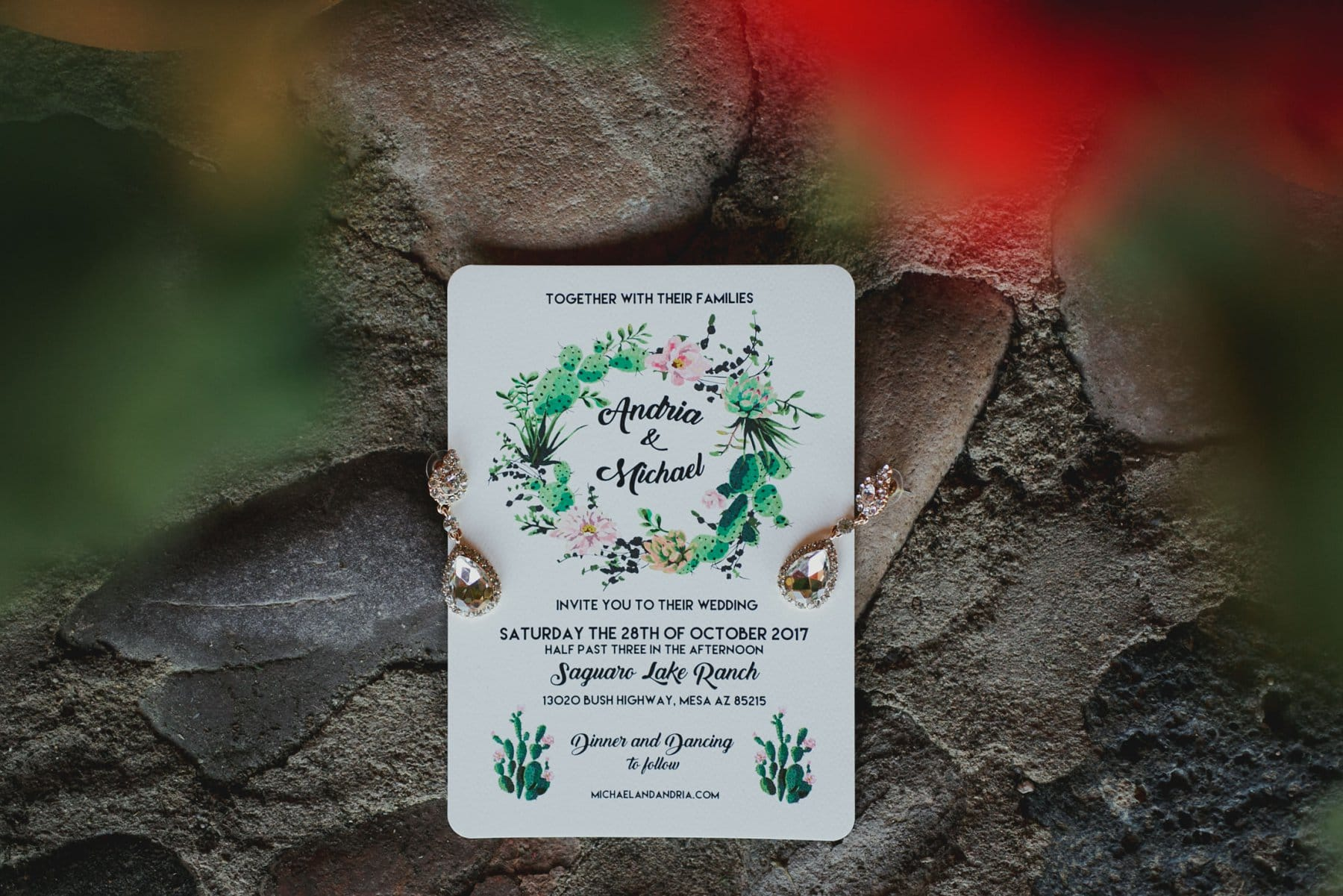 wedding invitation at Saguaro Lake Guest Ranch