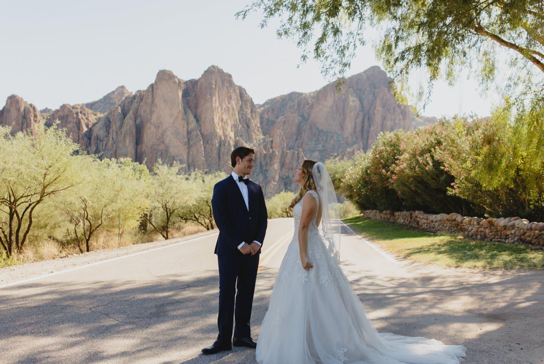 bride & groom first look at Saguaro Lake Ranch wedding