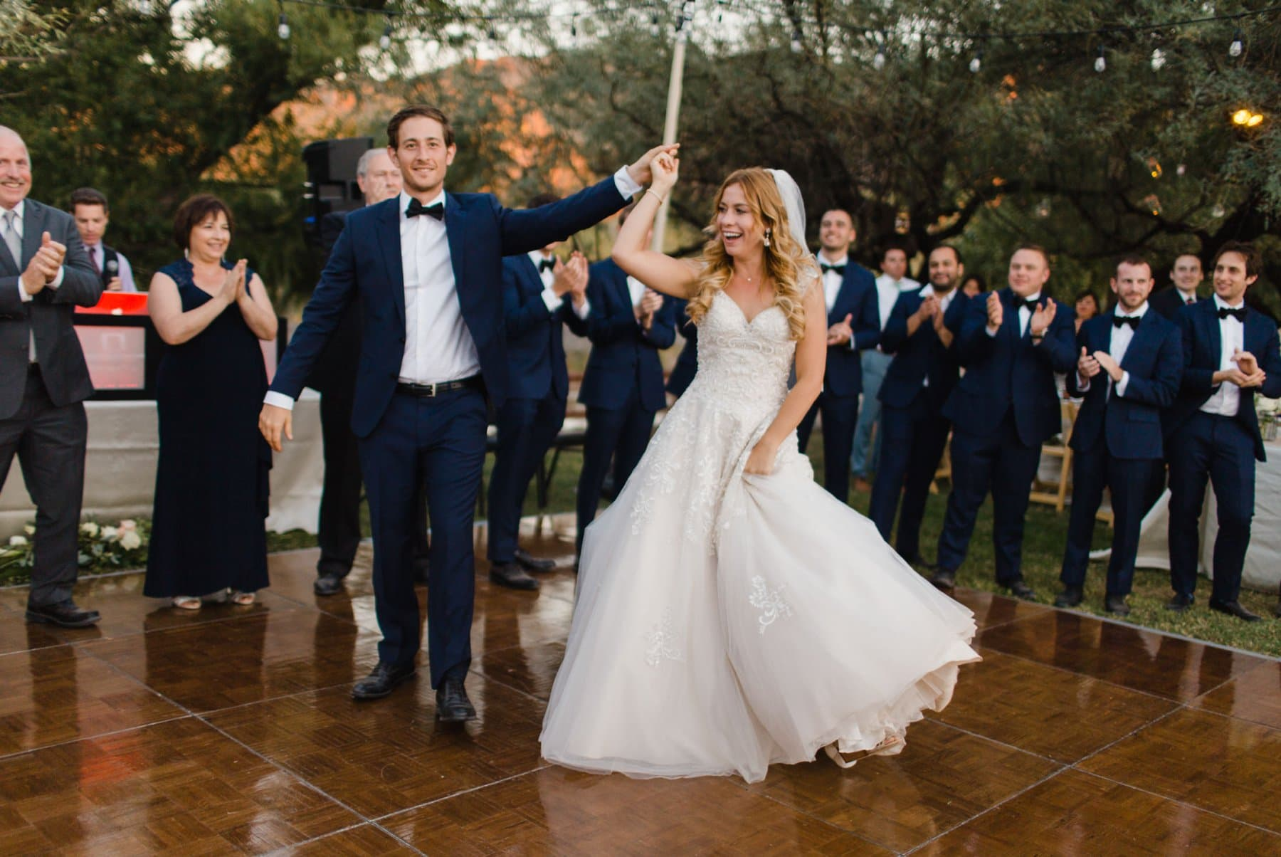 grand entrance bride & groom at Saguaro Lake Ranch wedding