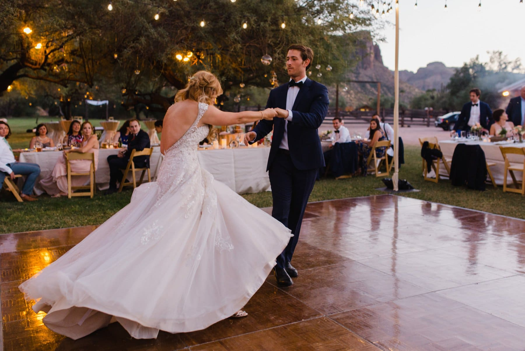 bride & groom first dance at Saguaro Lake Ranch wedding
