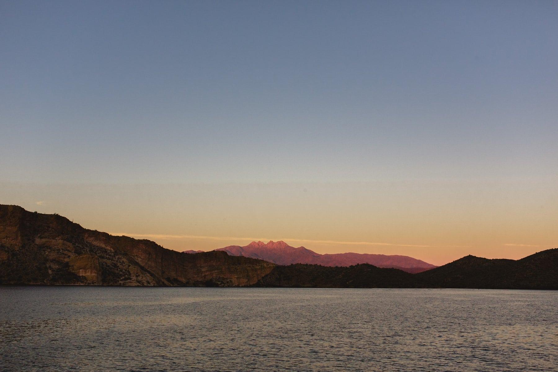 Sagauro Lake and Four Peaks at sunset