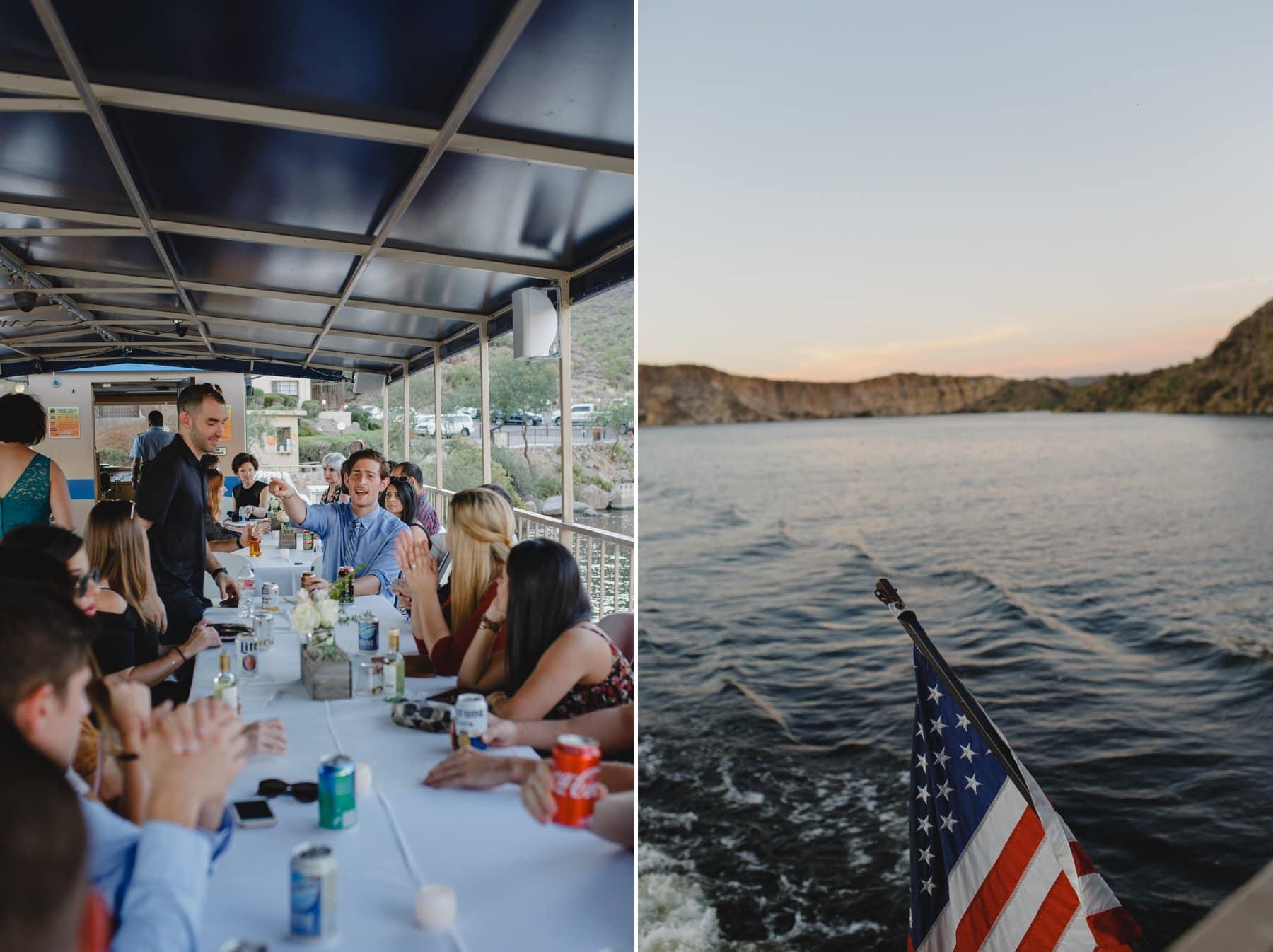 wedding rehearsal dinner on Desert Belle boat Saguaro Lake