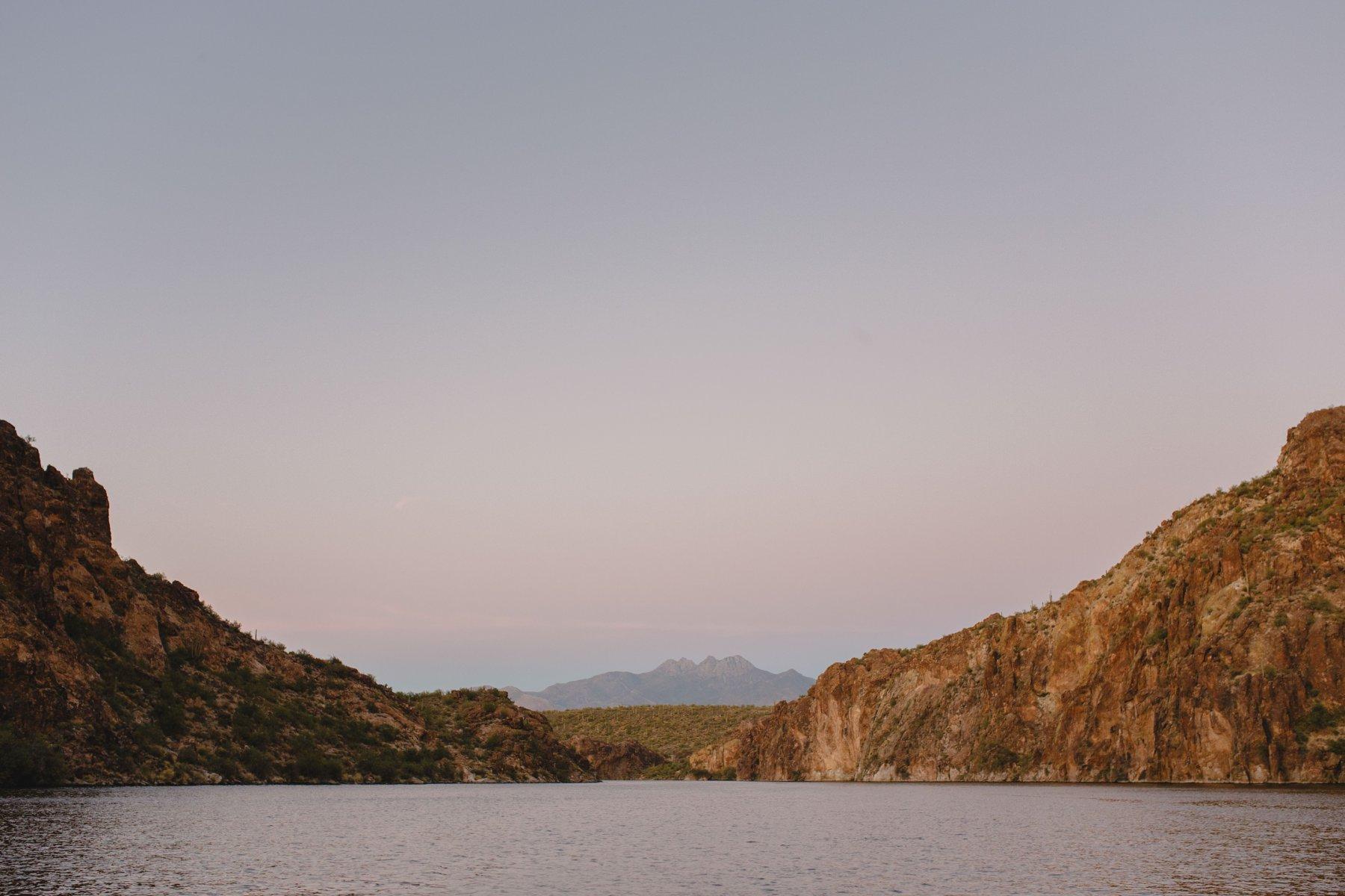 Four Peaks and Saguaro Lake at sunset