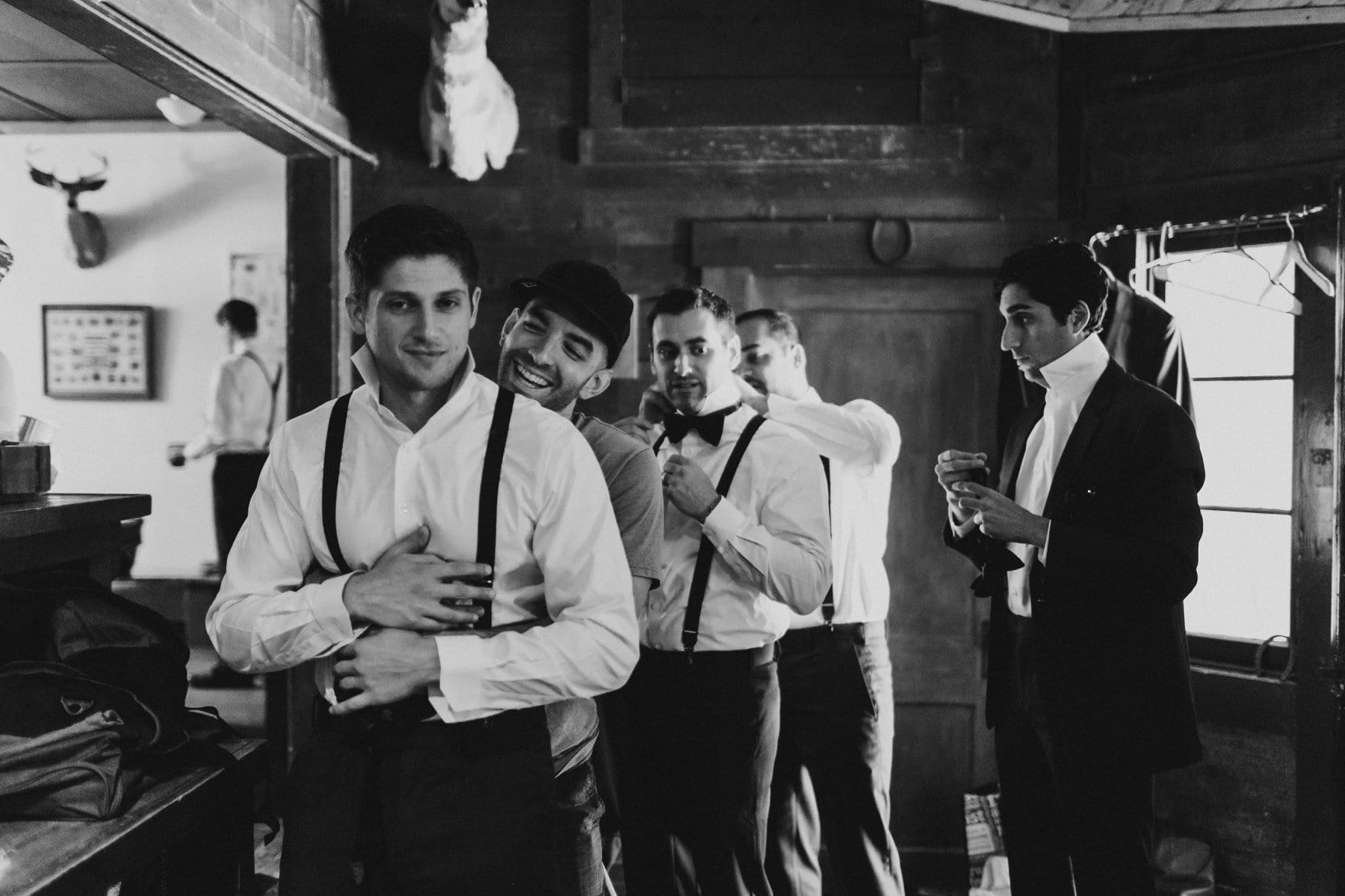groomsmen getting ready Saguaro Lake Ranch rustic wedding venue