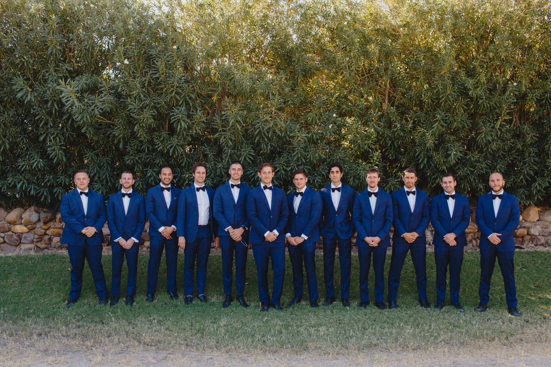 groom & groomsmen at Saguaro Lake Ranch wedding blue suits and bowties