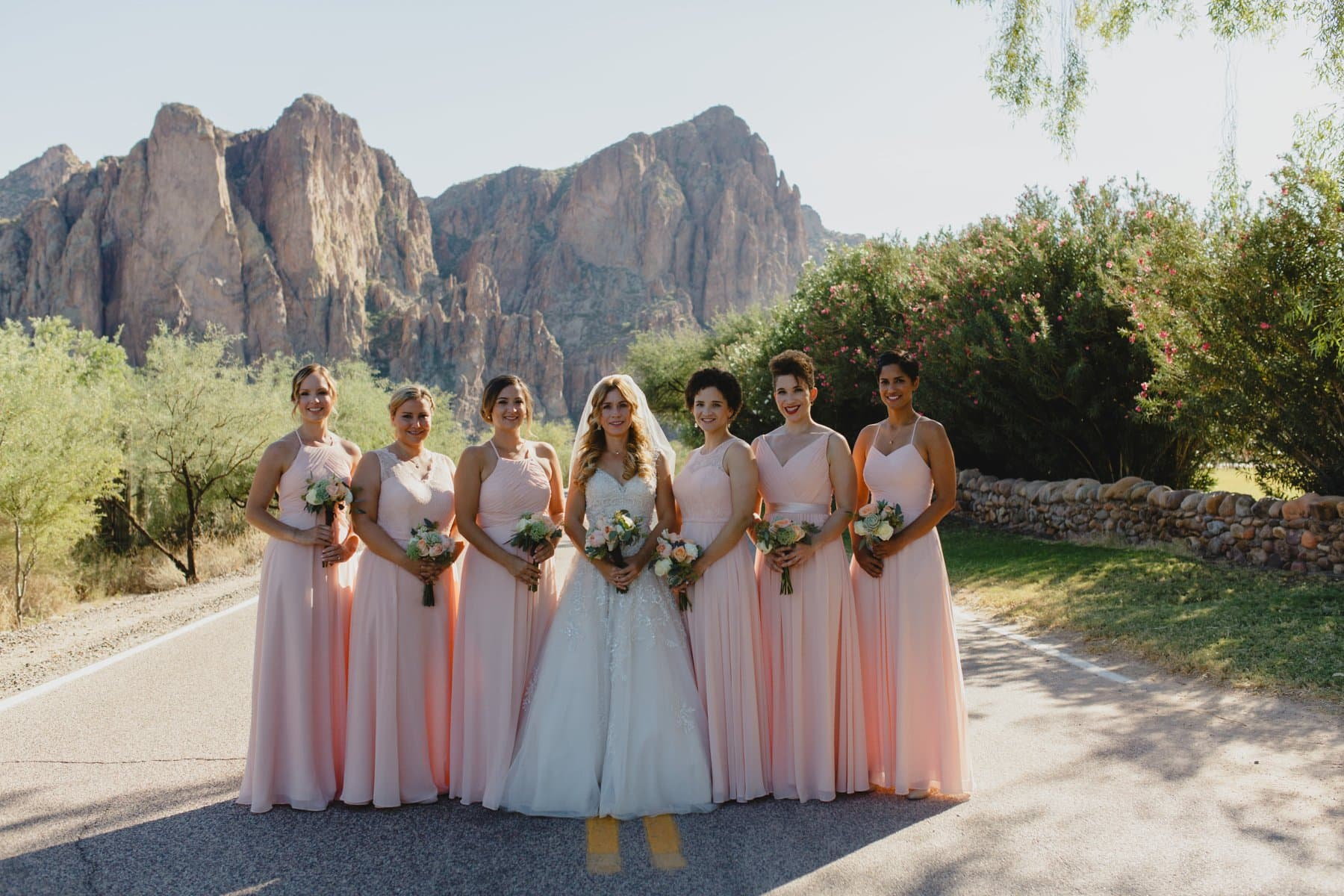 peach bridesmaids at Saguaro Lake Ranch wedding