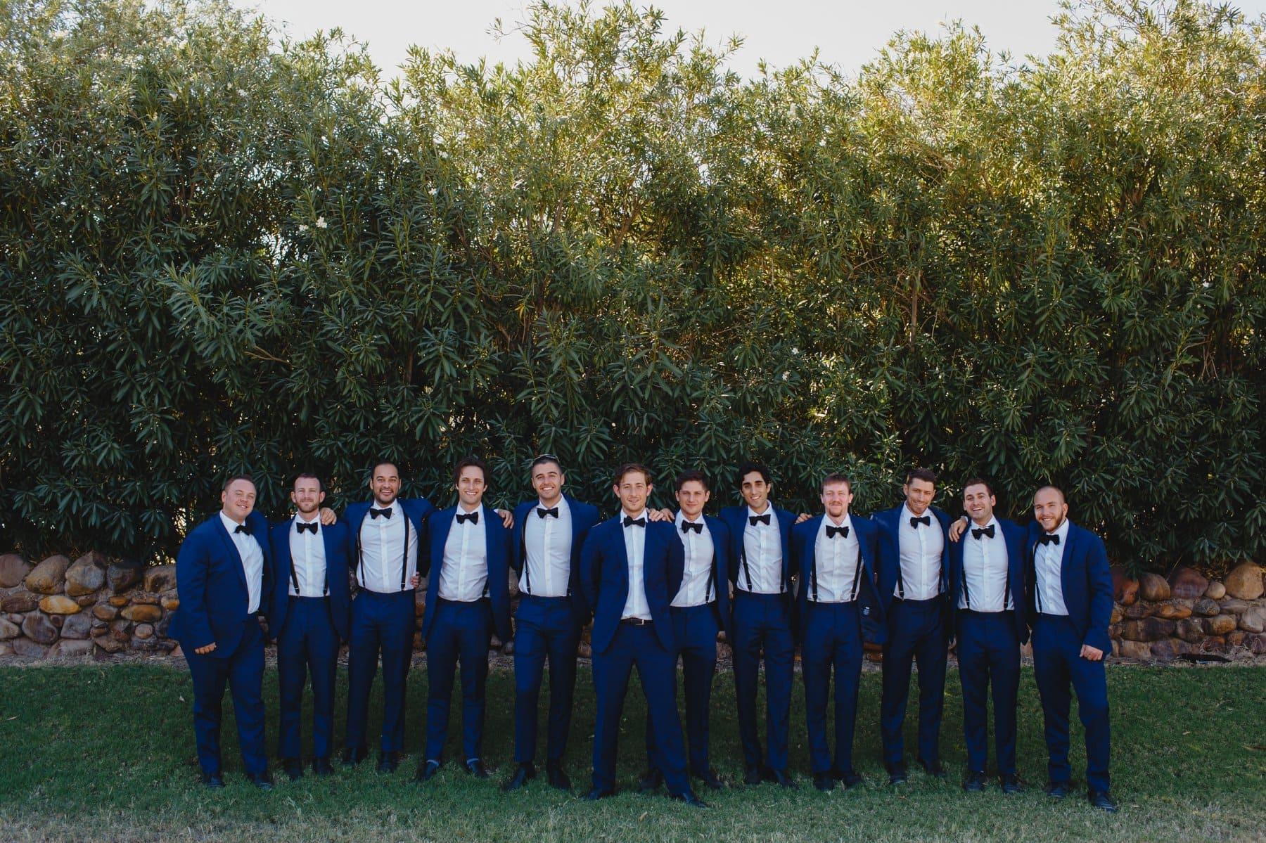 blue suits groomsmen Saguaro Lake Ranch wedding