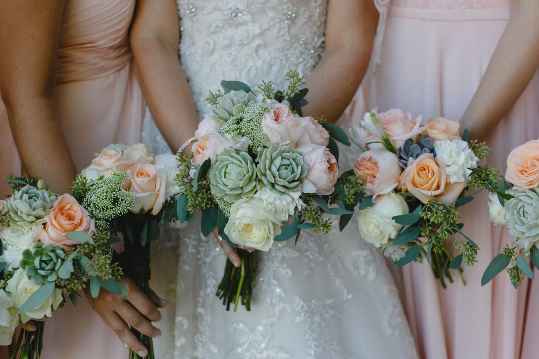peach and succulent wedding bouquets Saguaro Lake Ranch wedding
