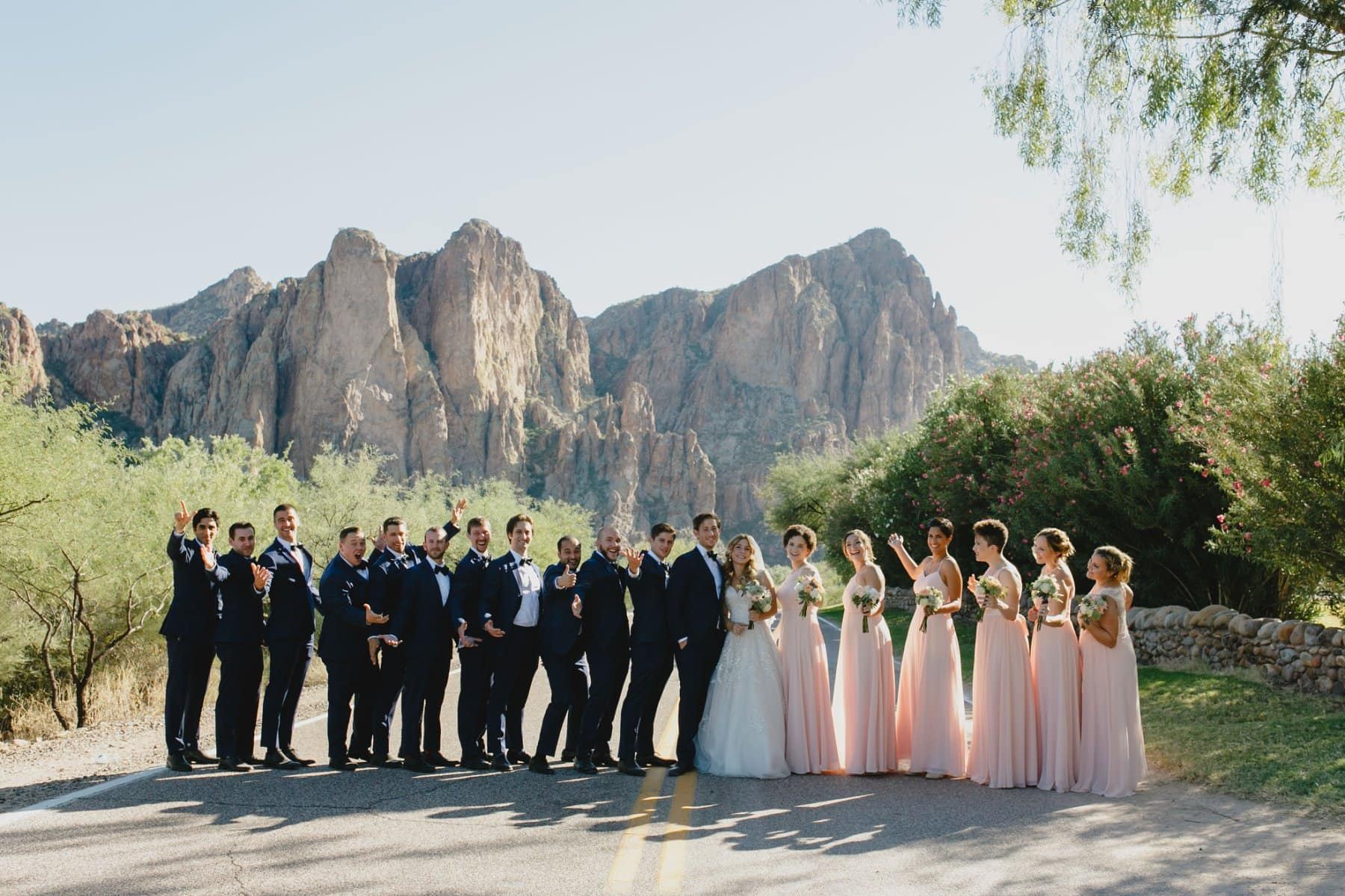 large wedding party Saguaro Lake Ranch wedding