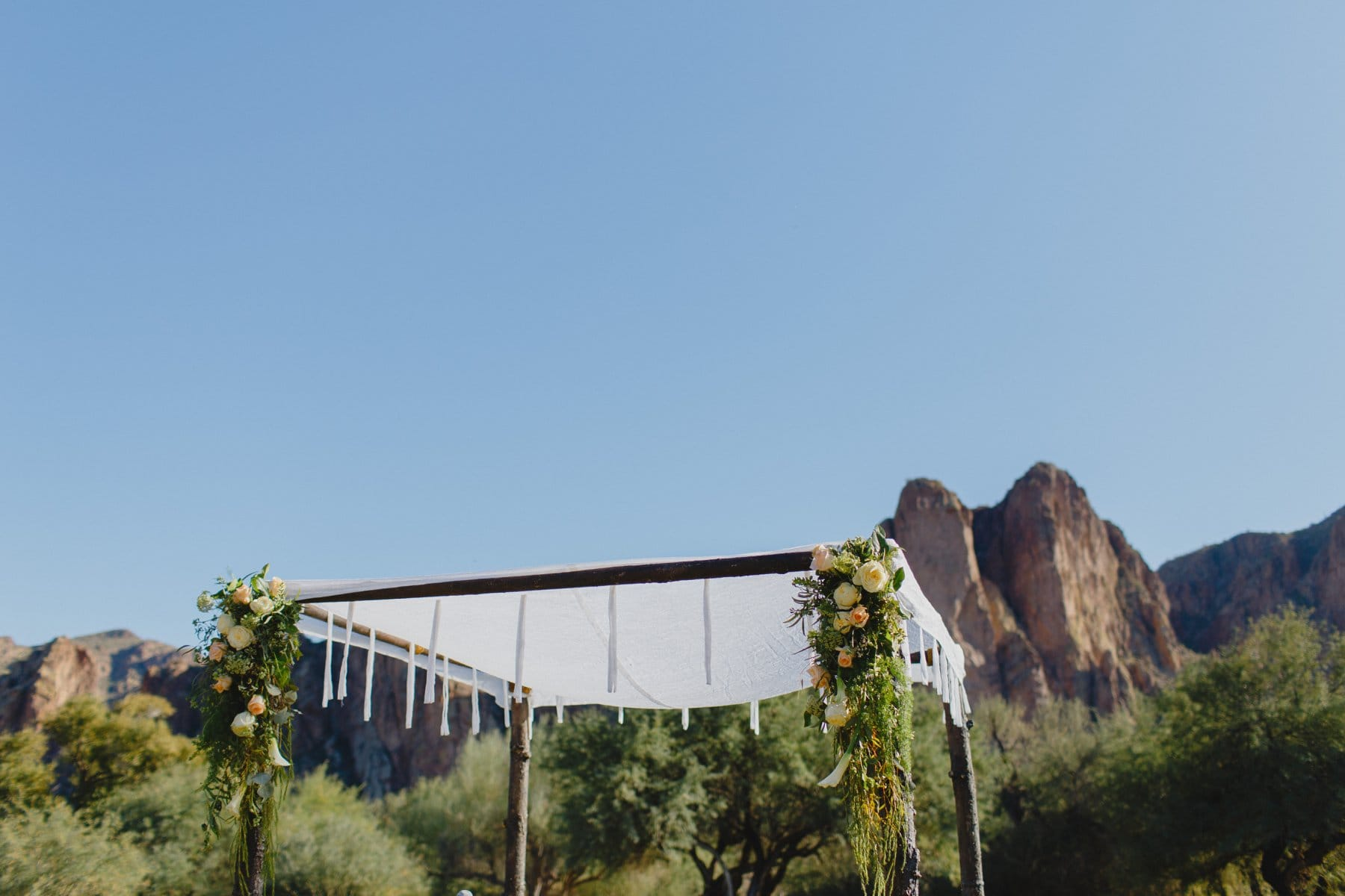floral & tree branch chuppah at Saguaro Lake Ranch wedding venue