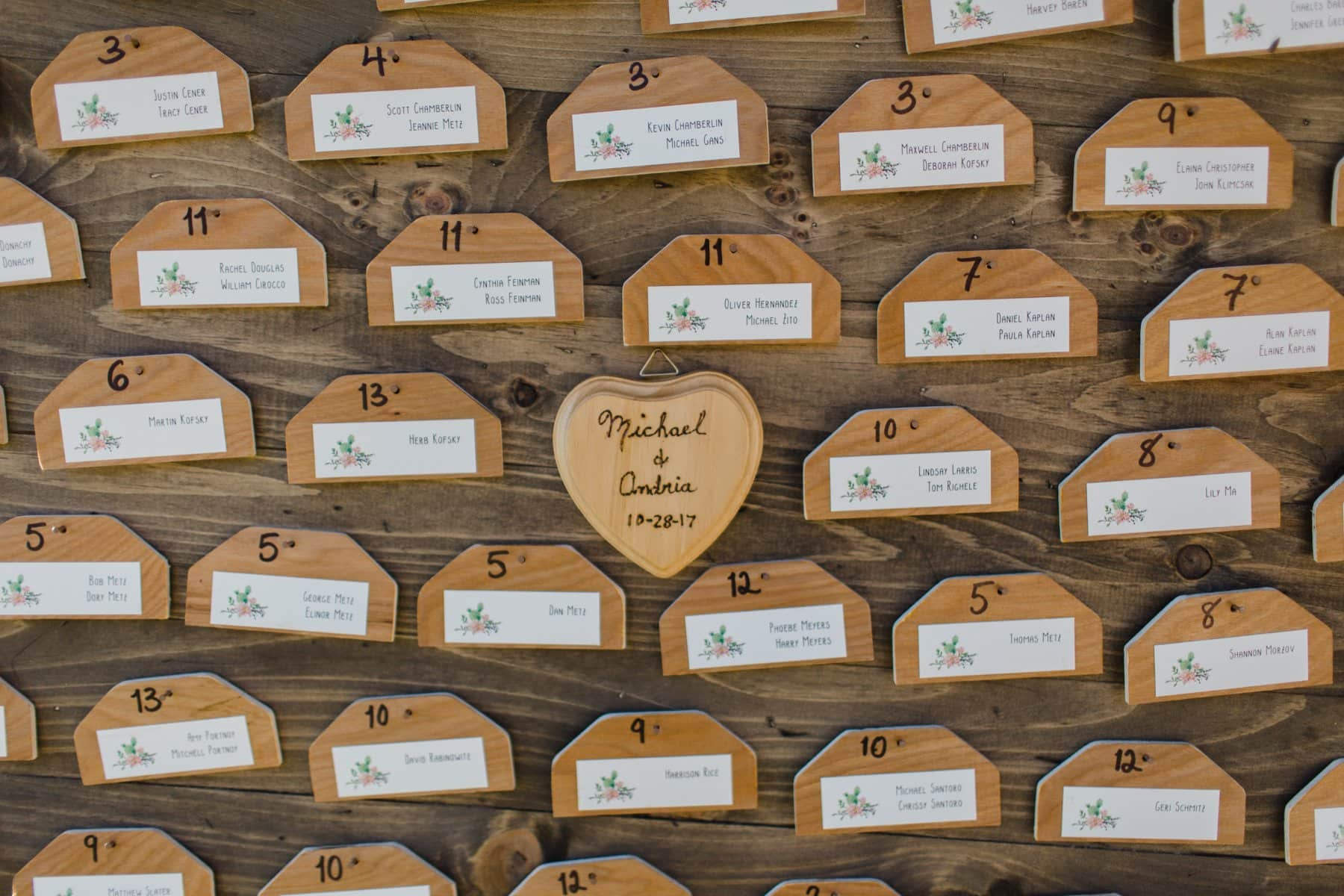wedding placecards at Saguaro Lake Ranch