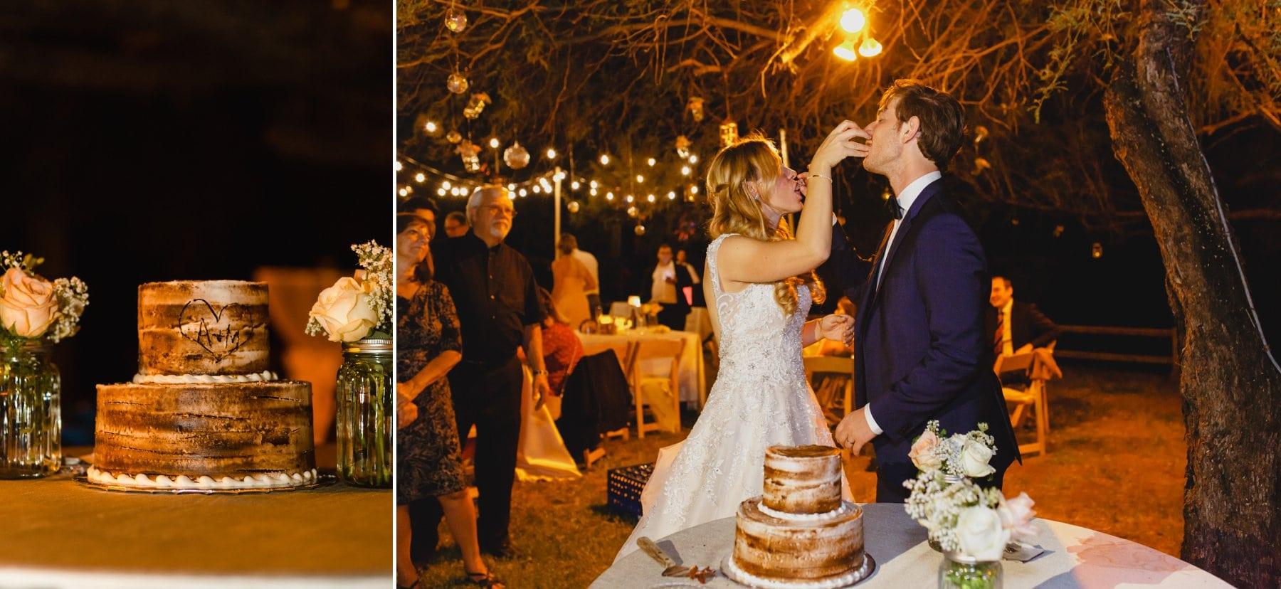 bride & groom cutting cake at Saguaro Lake Ranch wedding