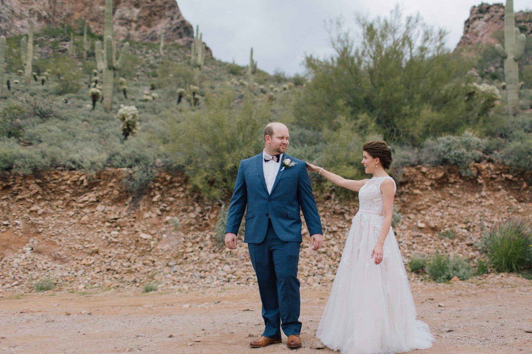 bride & groom first look in the desert Gold Canyon Golf Resort wedding