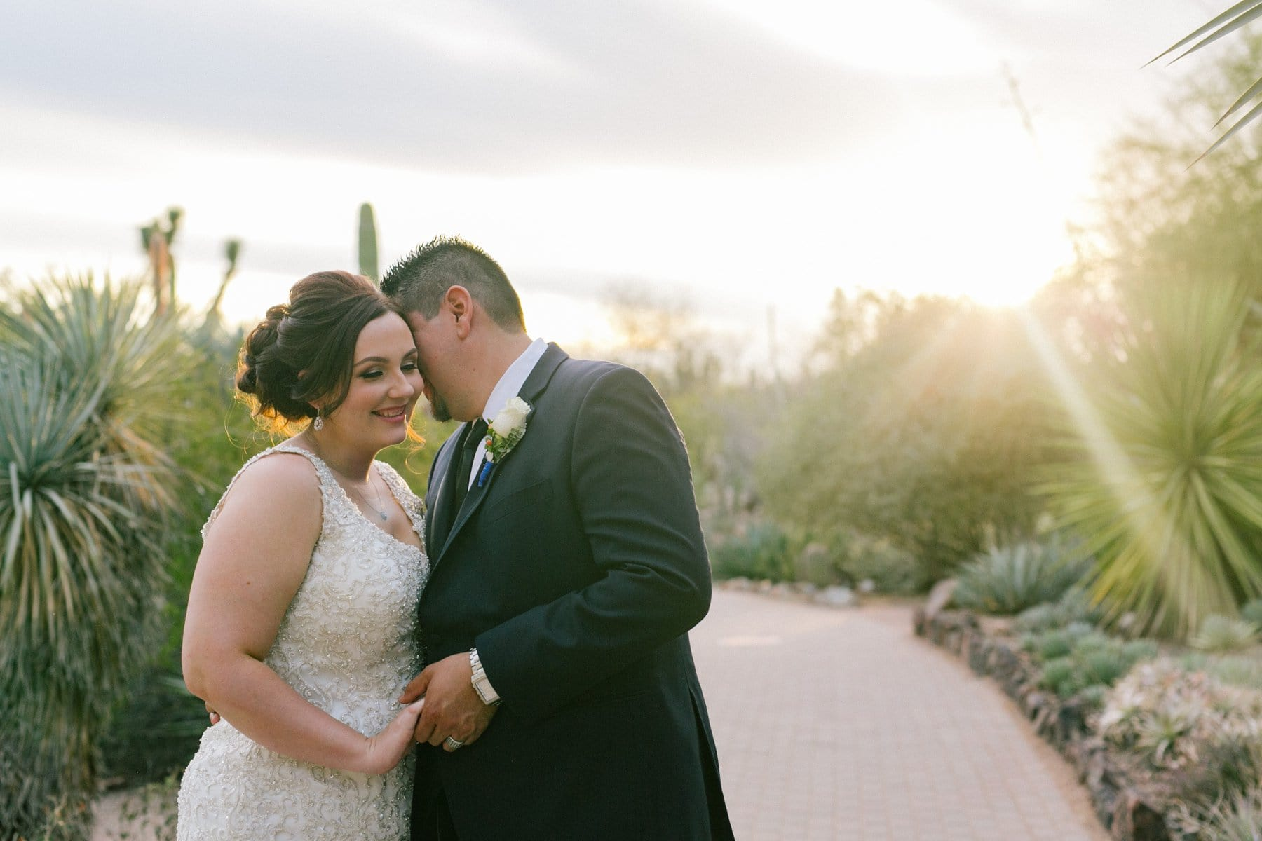 sunset portraits of bride & groom at Desert Botanical Gardens