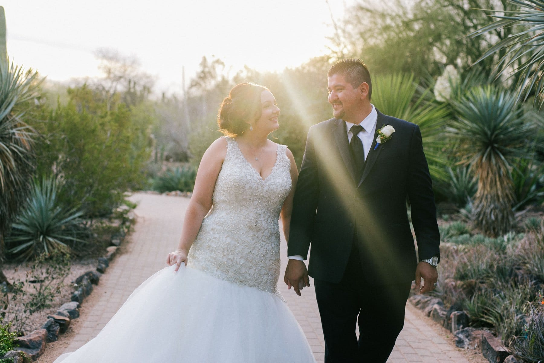 bride & groom at Desert Botanical Garden at sunset