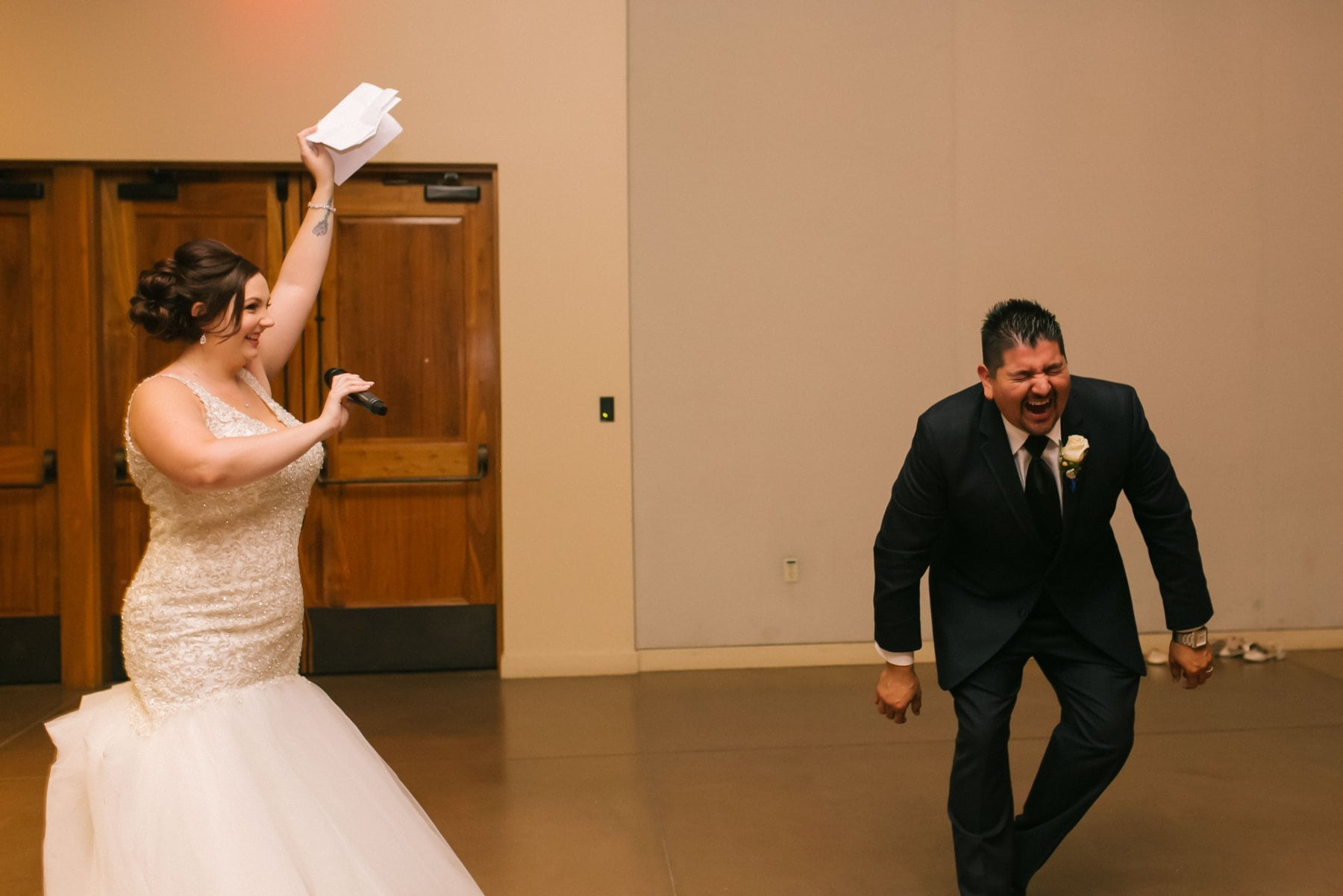 groom shocked at big surprise at wedding Phoenix photojournalistic photographer