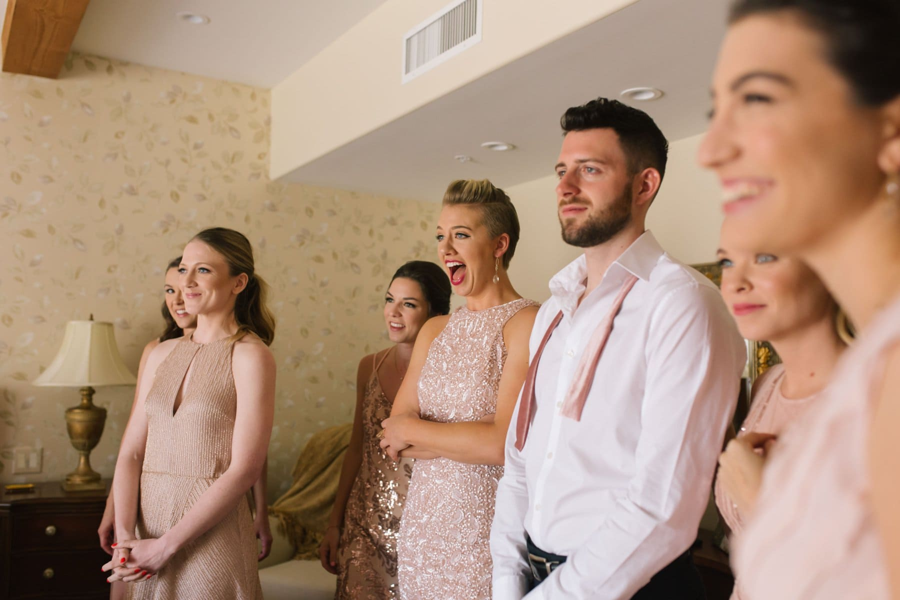 bridesmaids seeing bride for first time Phoenix documentary candid wedding photographer