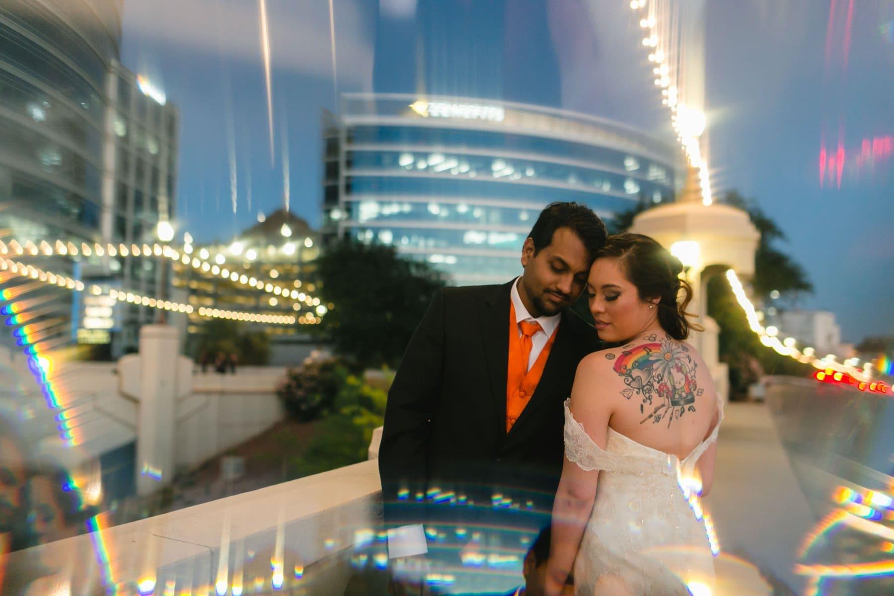 Tempe Town Lake night portraits of bride & groom