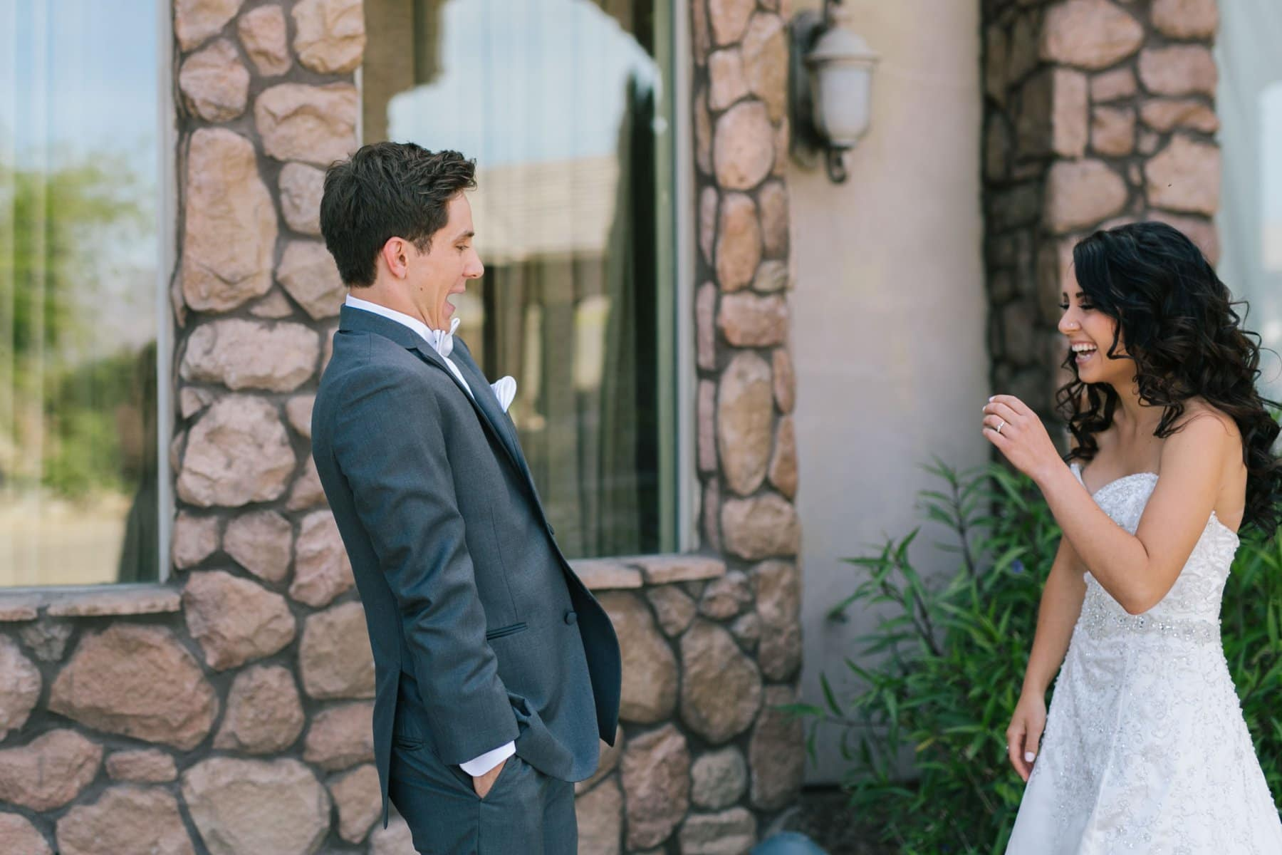 shocked excited groom surprised at his beautiful bride first look at Superstition Manor Mesa, AZ wedding