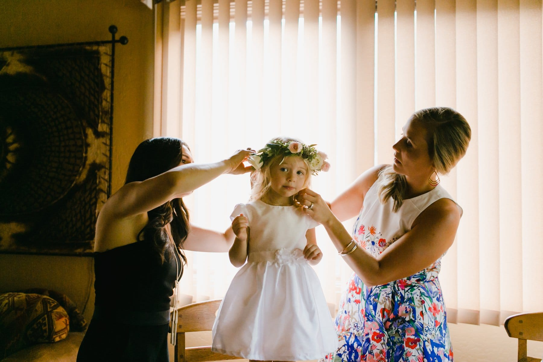 flowergirl getting ready at Junipine Resort Sedona
