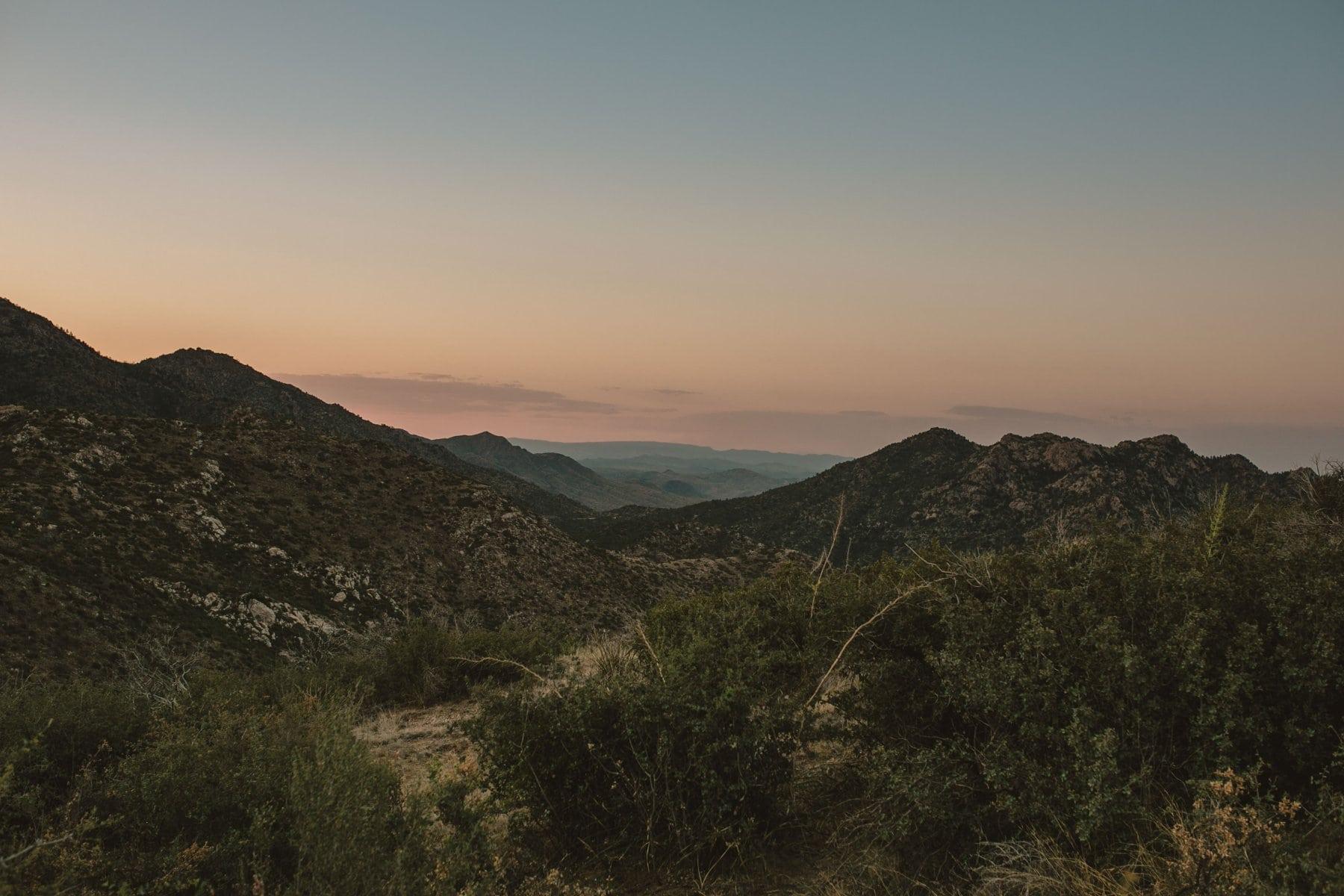 Prescott National Forest Bradshaw Mountains at sunset