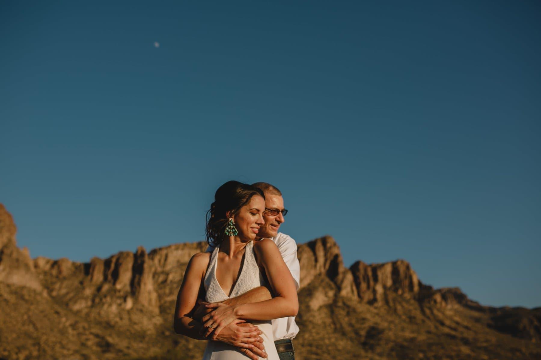 desert boho elopement in Salt River at sunset