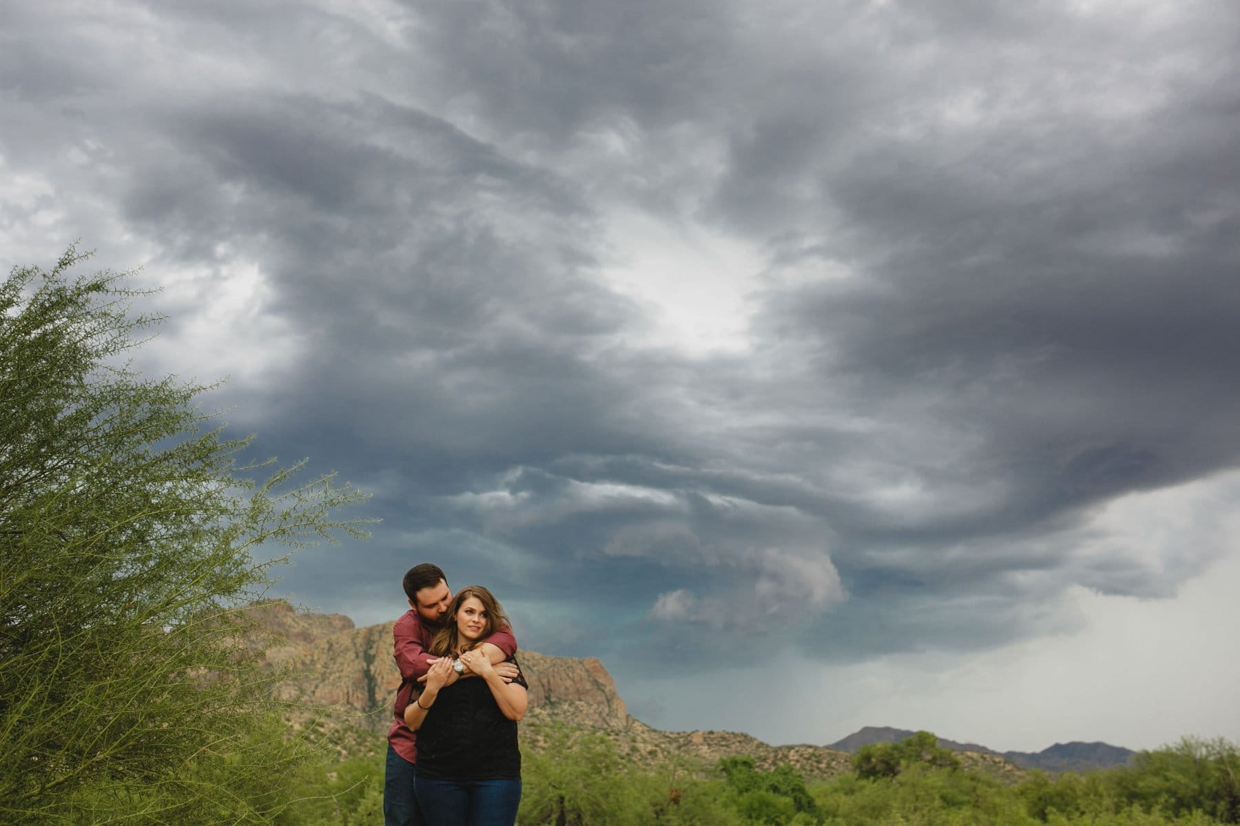 engagement session in monsoon storm Arizona