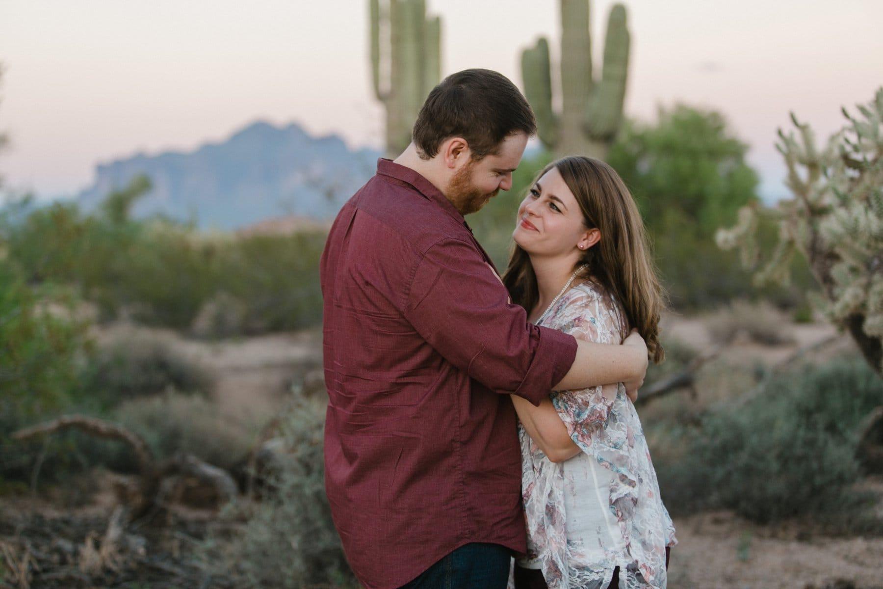 Arizona desert engagement session sweet real emotions