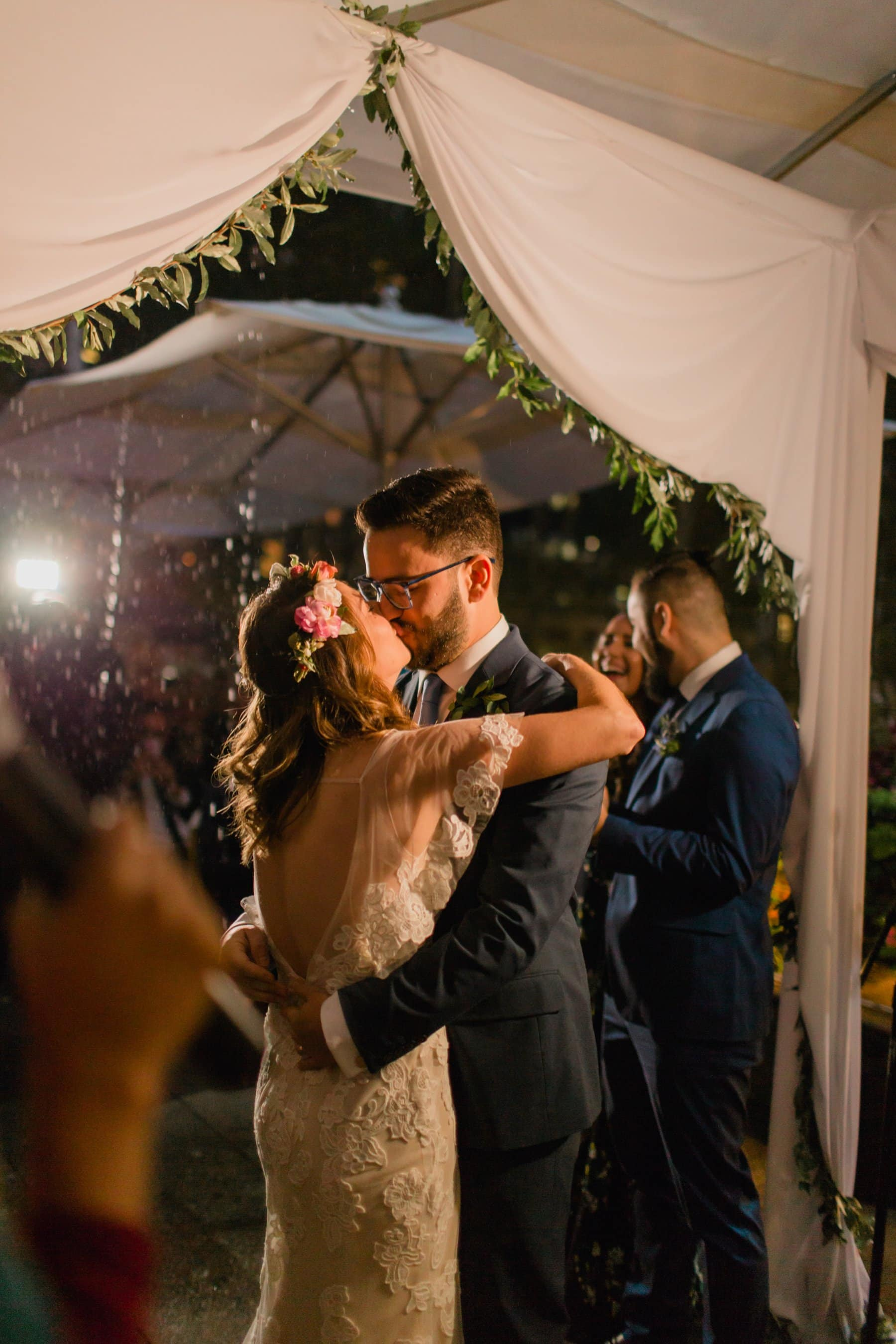 first kiss in the rain at night New York Bryant Park wedding