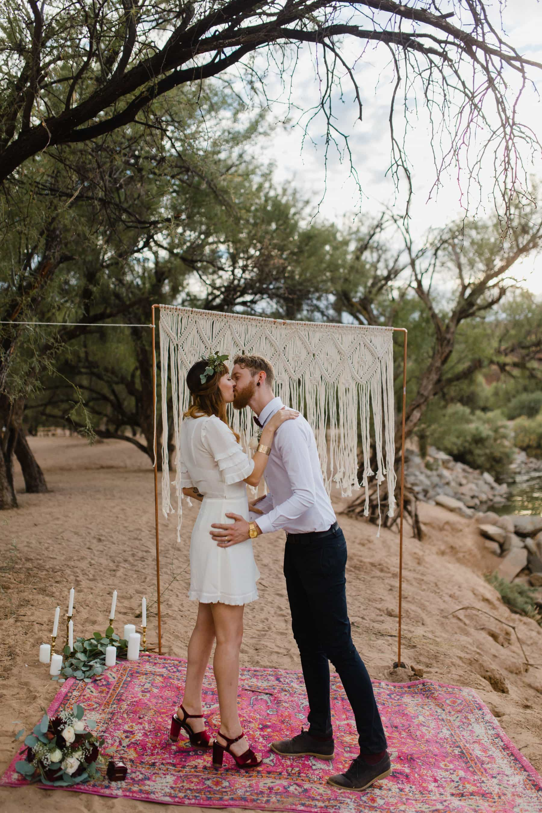 Salt River elopement photos with macrame and rug