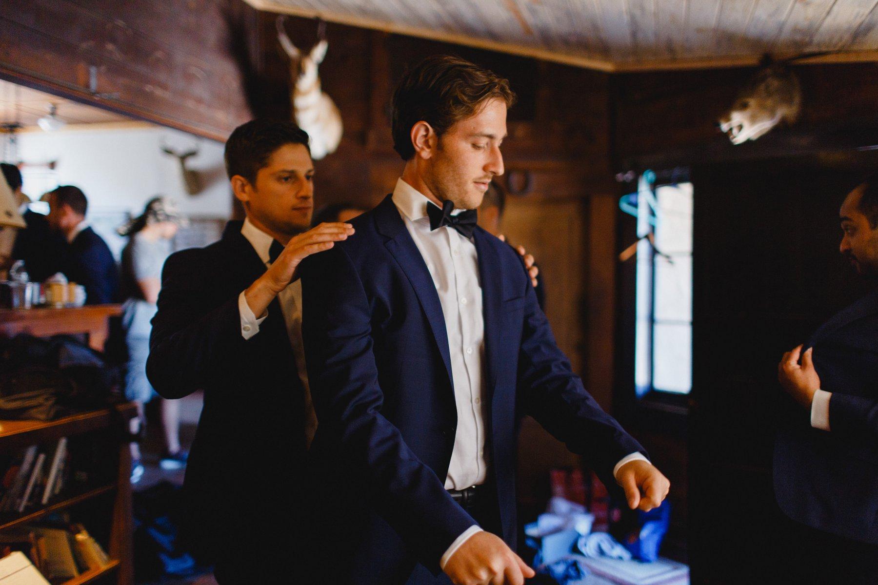 groom getting ready at Saguaro Lake Ranch wedding