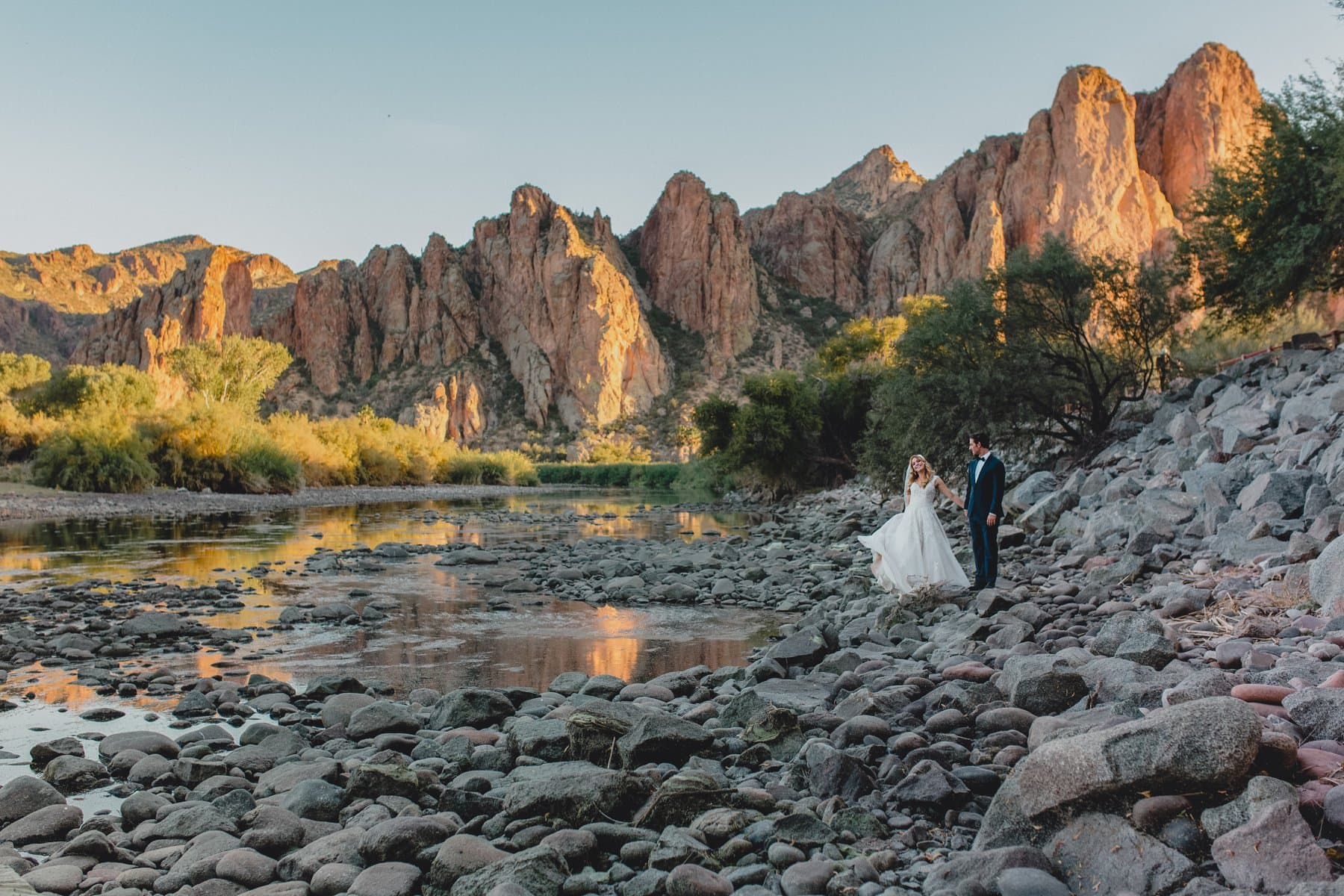 Saguaro Lake Ranch wedding photos mountains at sunset