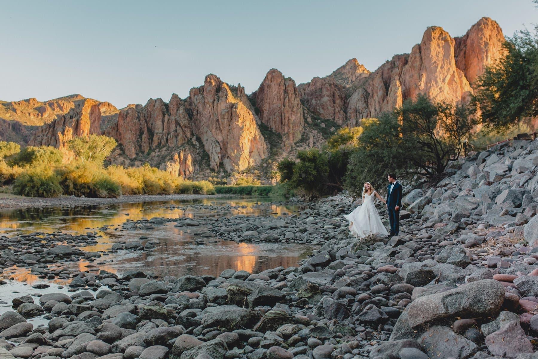 Saguaro Lake Ranch wedding photos mountains at sunset