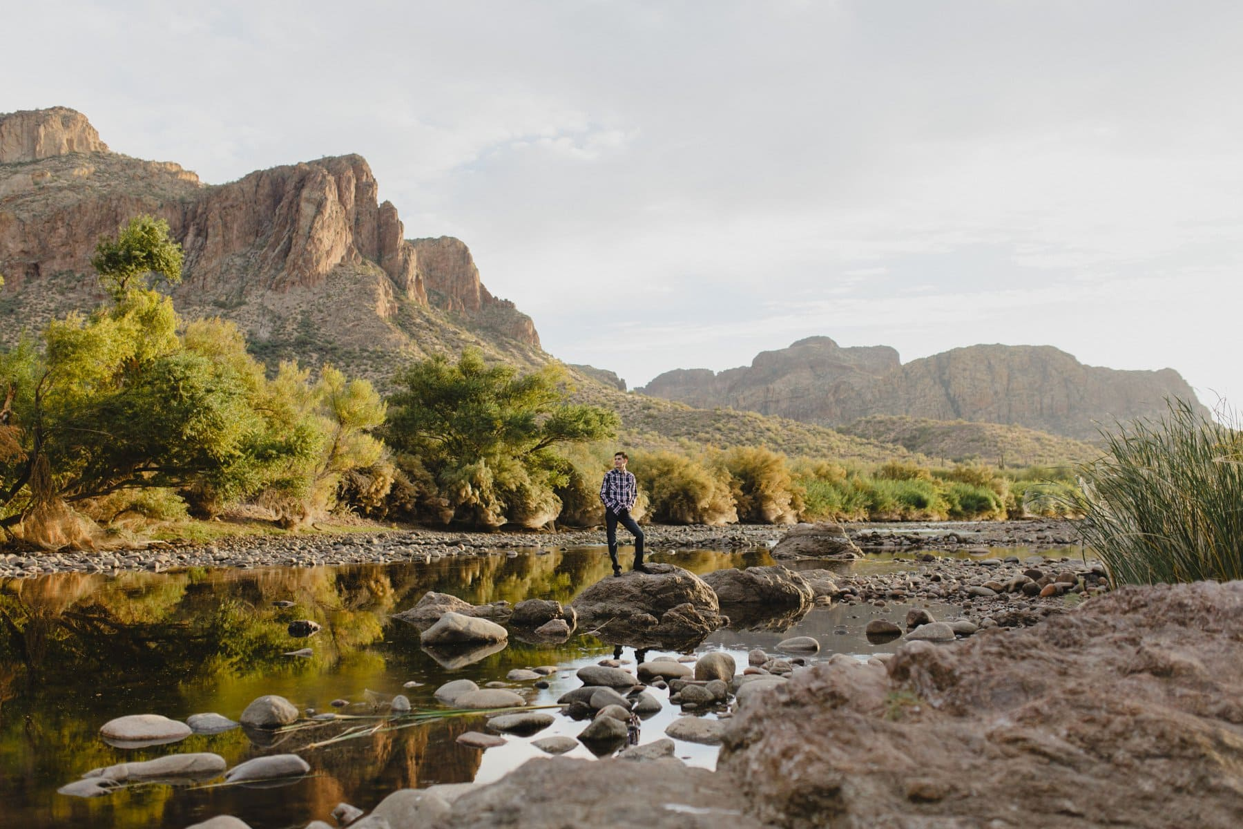 high school senior boy in scenic nature Arizona Salt River