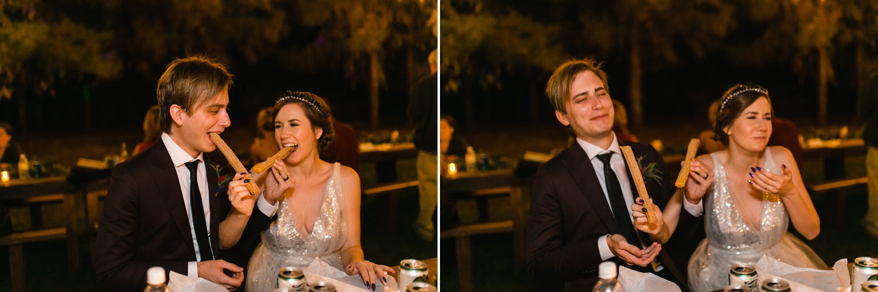 bride & groom eating churros together at wedding Phoenix candid documentary photographer