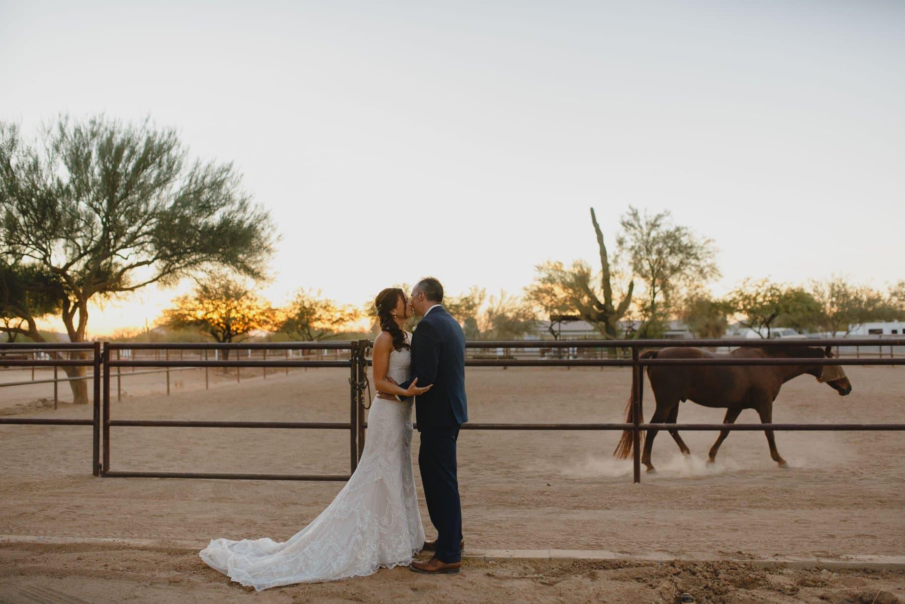 wedding at a horse barn in Arizona
