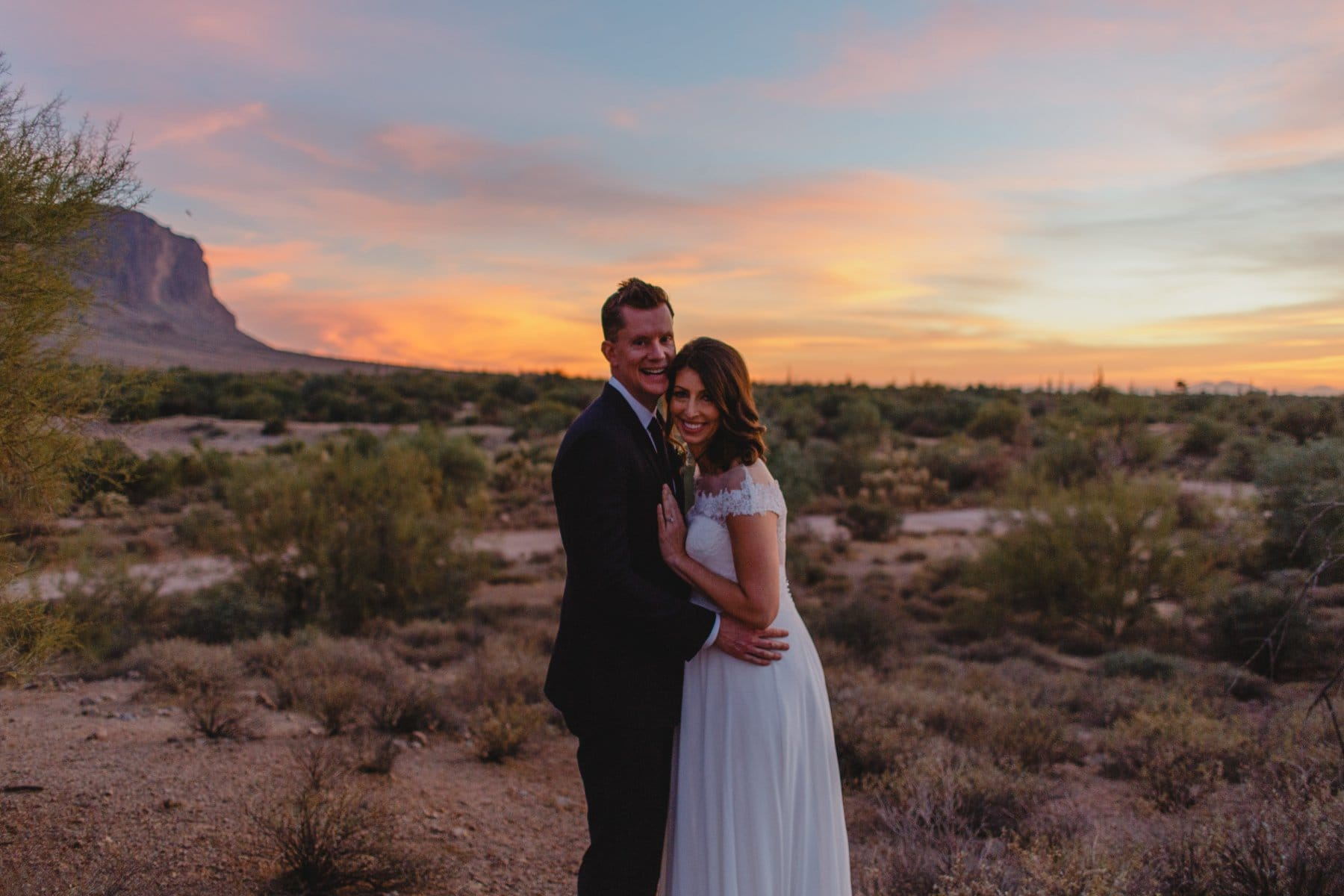 Superstition Mountain elopement colorful sunset