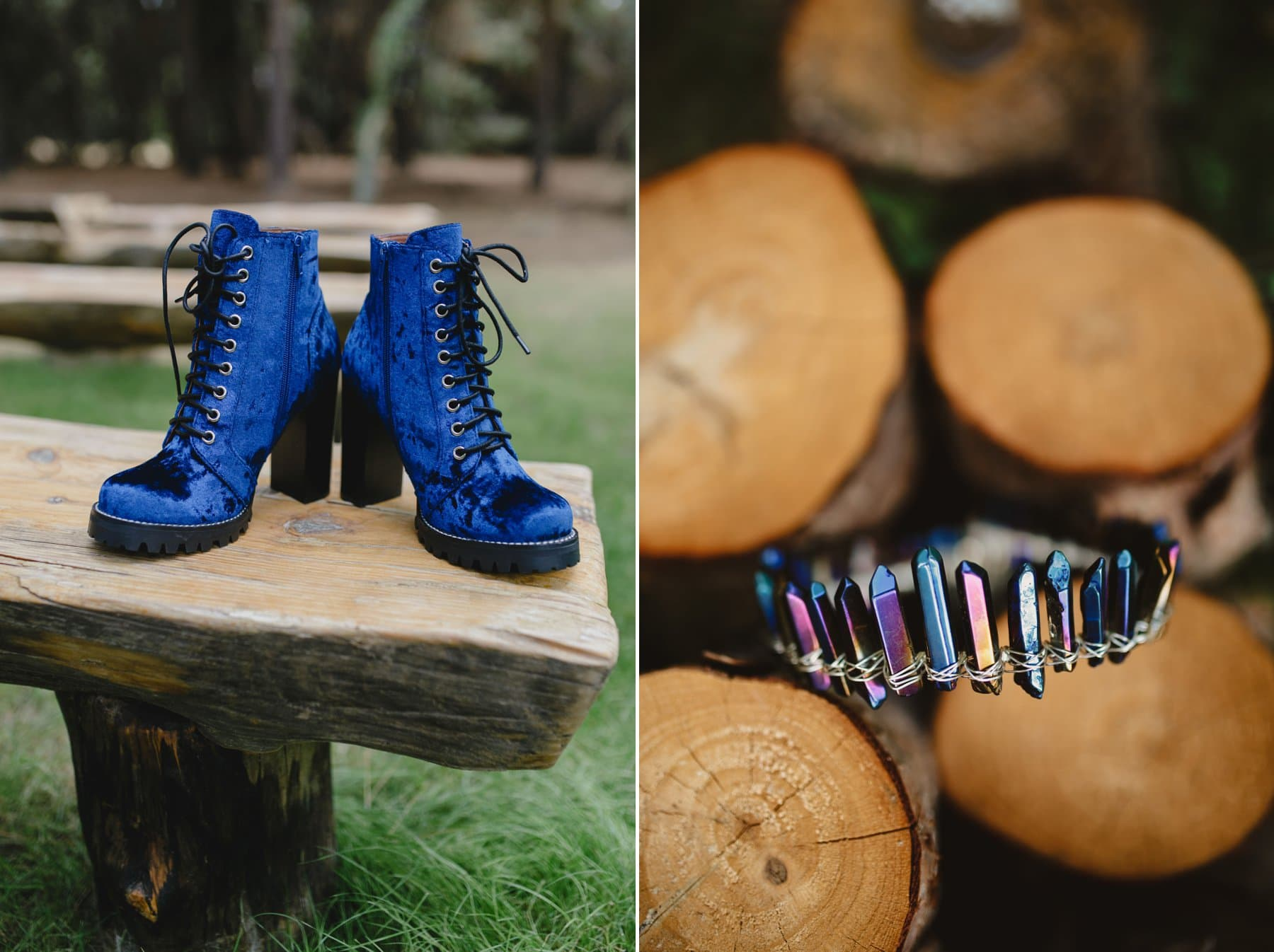 rustic forest wedding details with blue Jeffery Campbell suede boots and blue crystal tiara Phoenix AZ