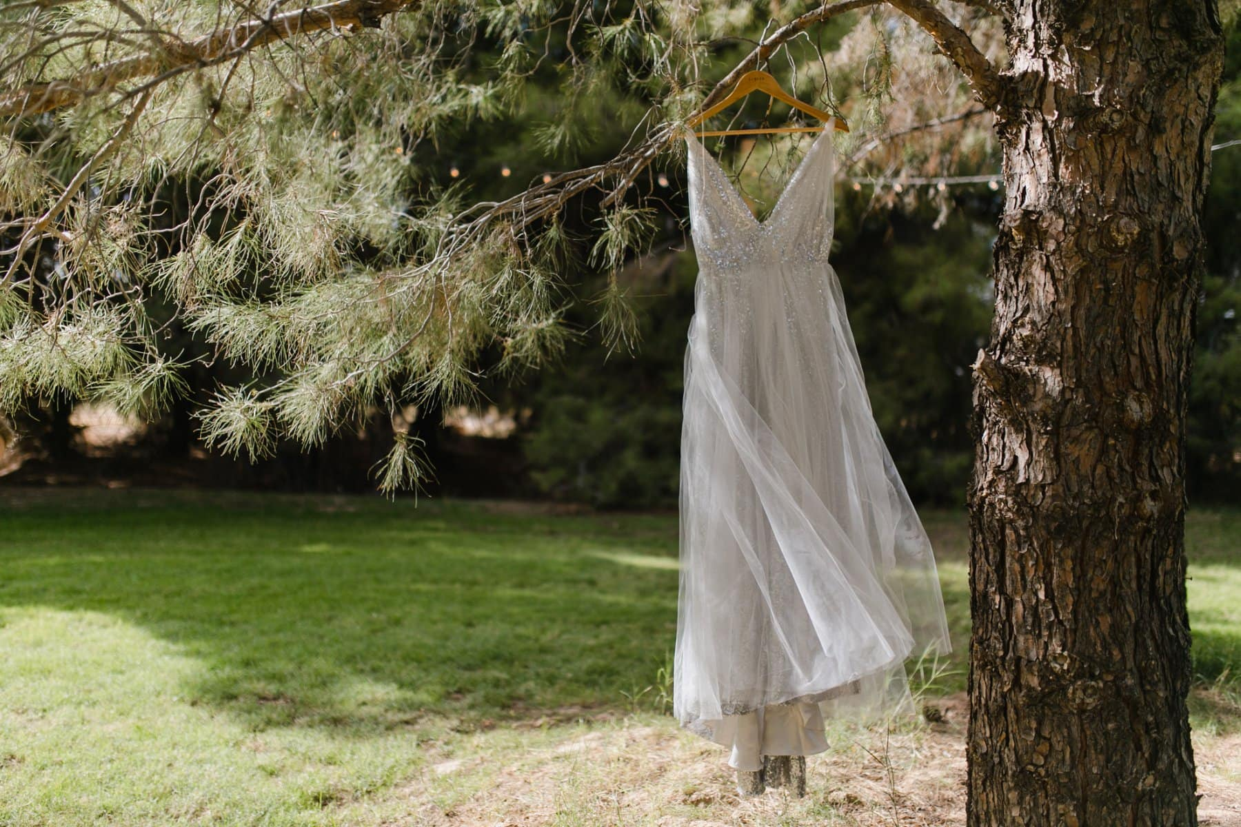 custom silver sequin tulle dress hanging from pine tree at The Meadow Schnepf Farms AZ wedding