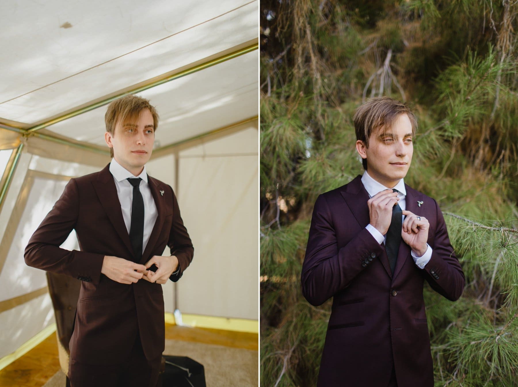 groom in maroon suit in glamping tent at the Meadow Schnepf Farms pine tree wedding venue Phoenix AZ