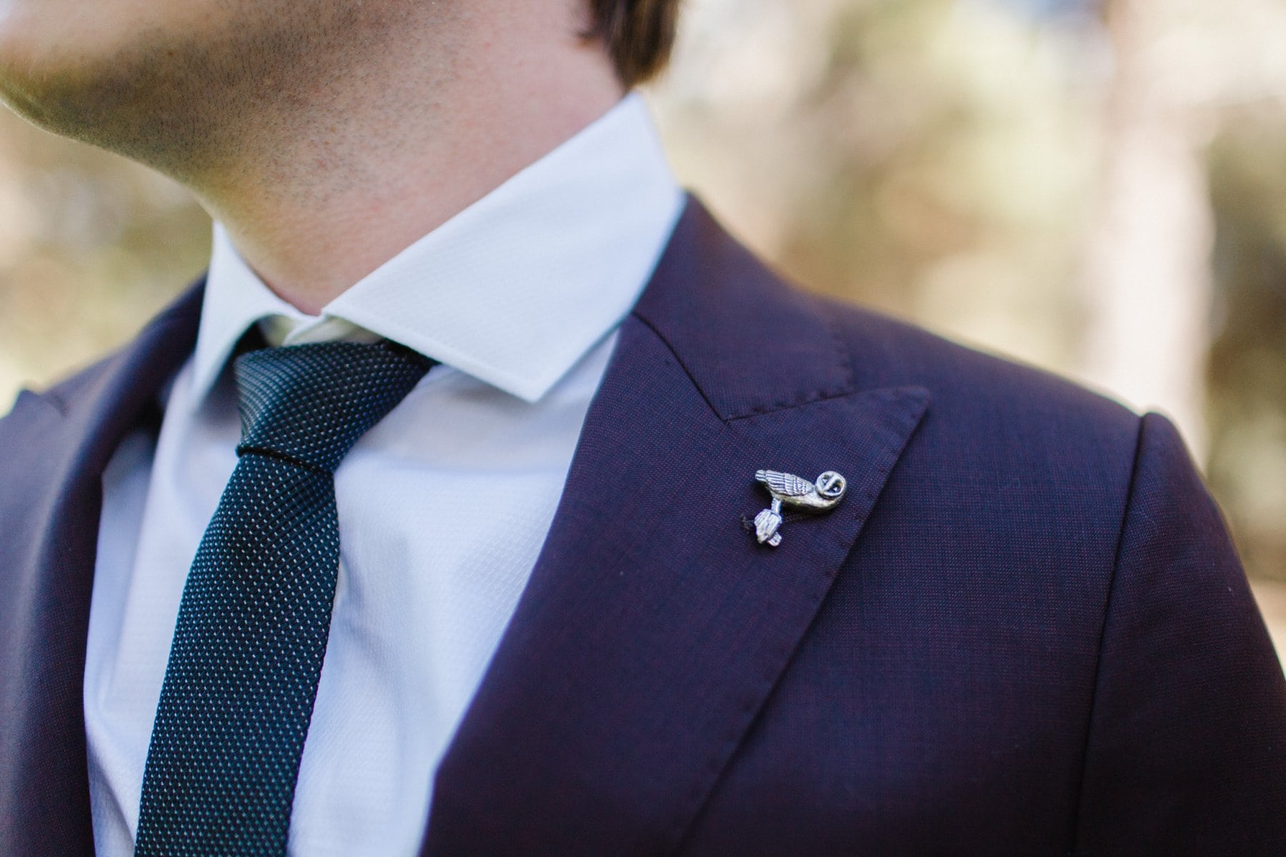 owl lapel pin groom boutonniere alternative